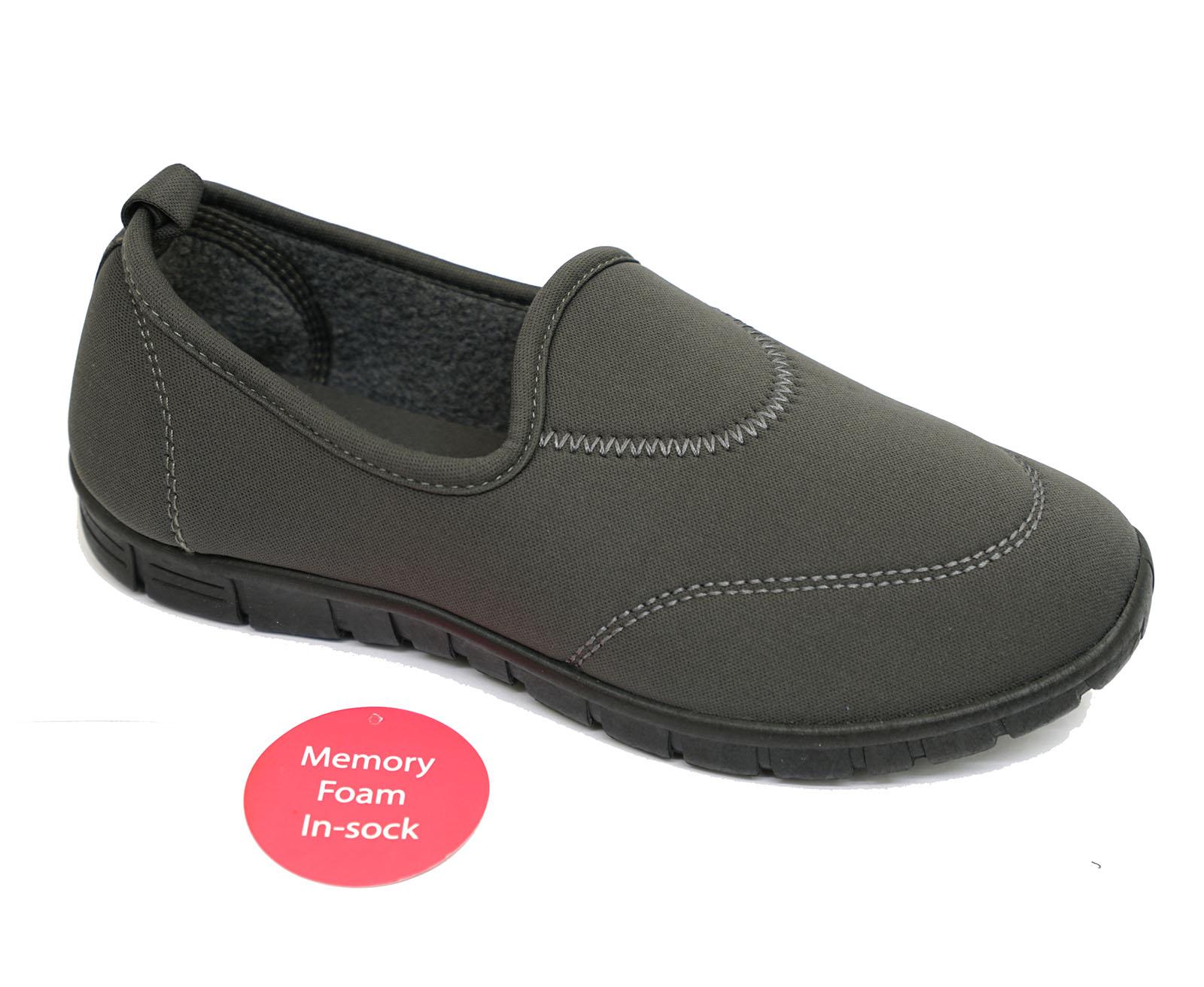 LADIES GREY SLIP-ON MEMORY FOAM COMFORT WALKING TRAINER PUMPS SHOES UK 3-8