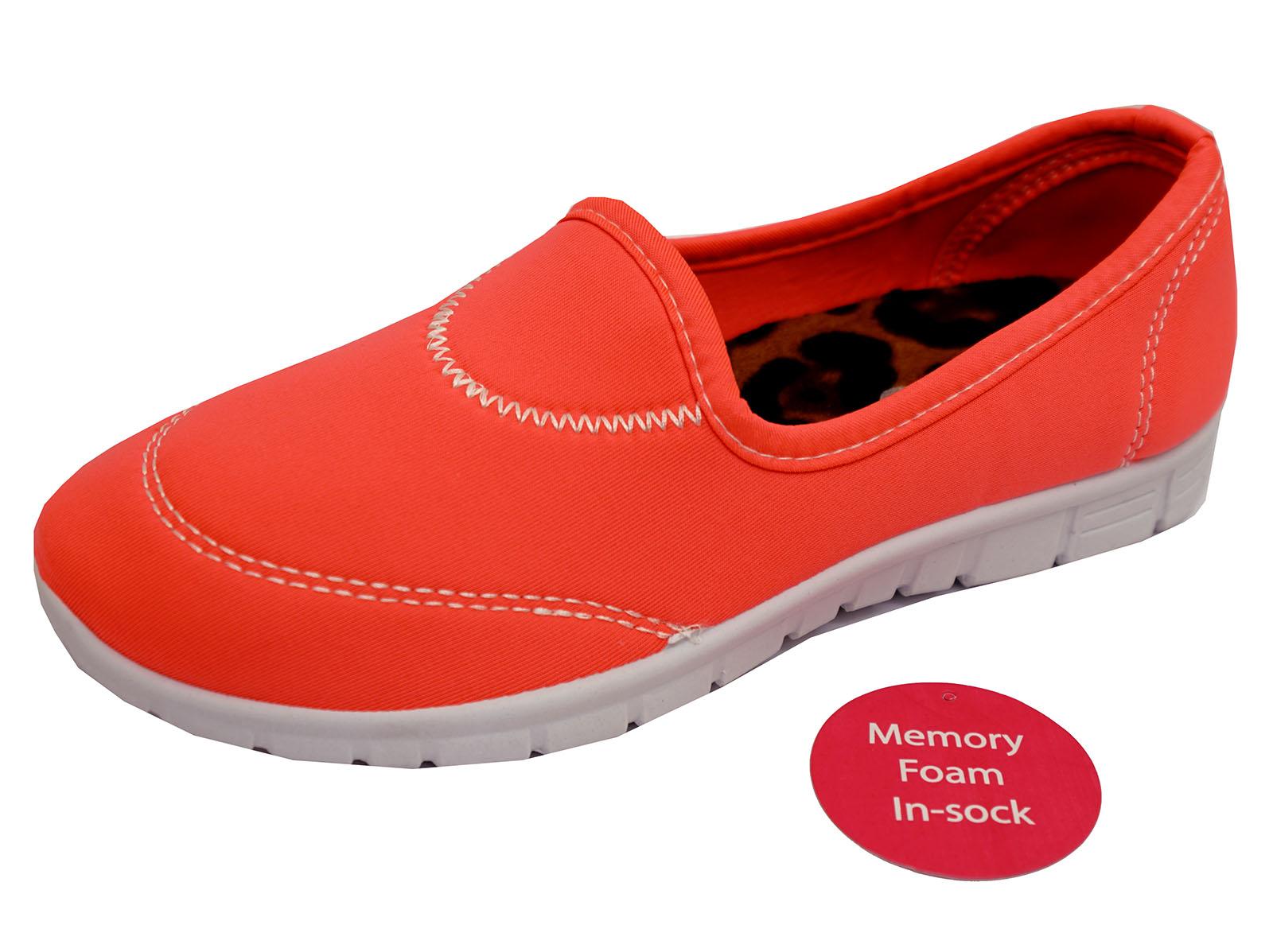 Damas Coral Sin Cordones Comodidad de espuma de memoria UK 3-8 entrenador para Zapatos de salón