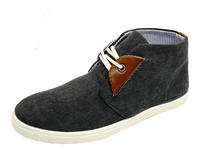 View Item MENS GREY LACE-UP DESERT CANVAS SMART CASUAL ANKLE BOOTS HI-TOP SHOES SIZES 6-11