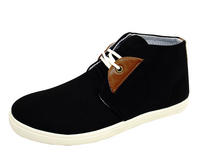 View Item MENS BLACK LACE-UP DESERT CANVAS SMART CASUAL ANKLE BOOTS HI-TOP SHOES UK 6-11
