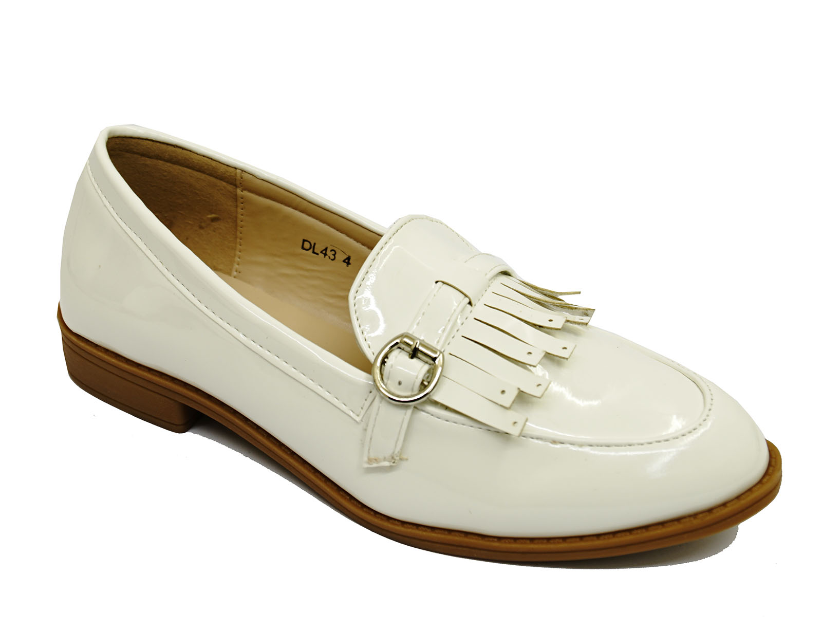 Blanco de las Señoras Sin Cordones Mocasines Mocasín Informal Cómodos Zapatos Planos de trabajo inteligente UK 3-8