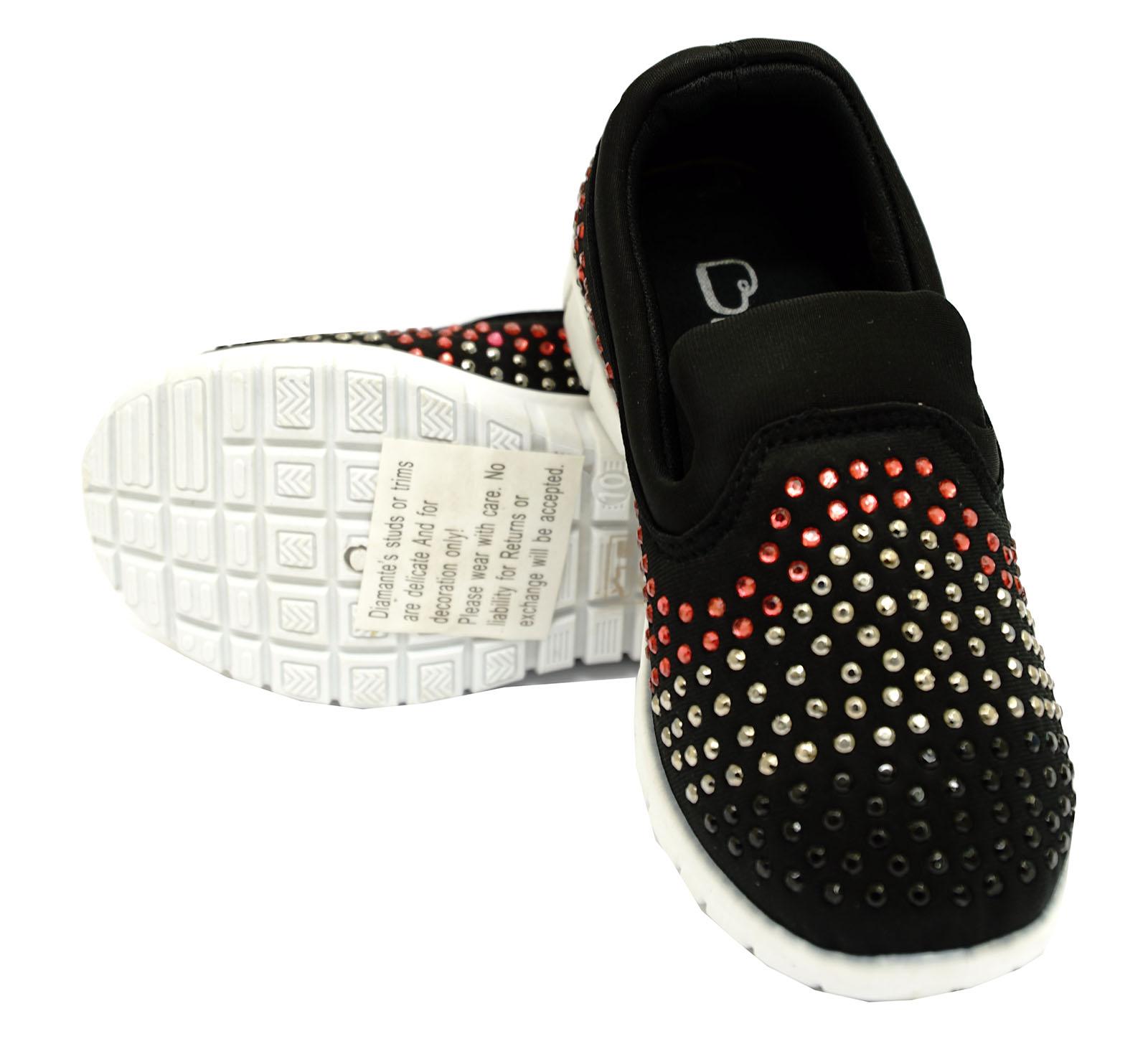 Niñas Niños Childrens Negro Sin Cordones Entrenadores Diamante Playera Zapatos De Salón 10-3