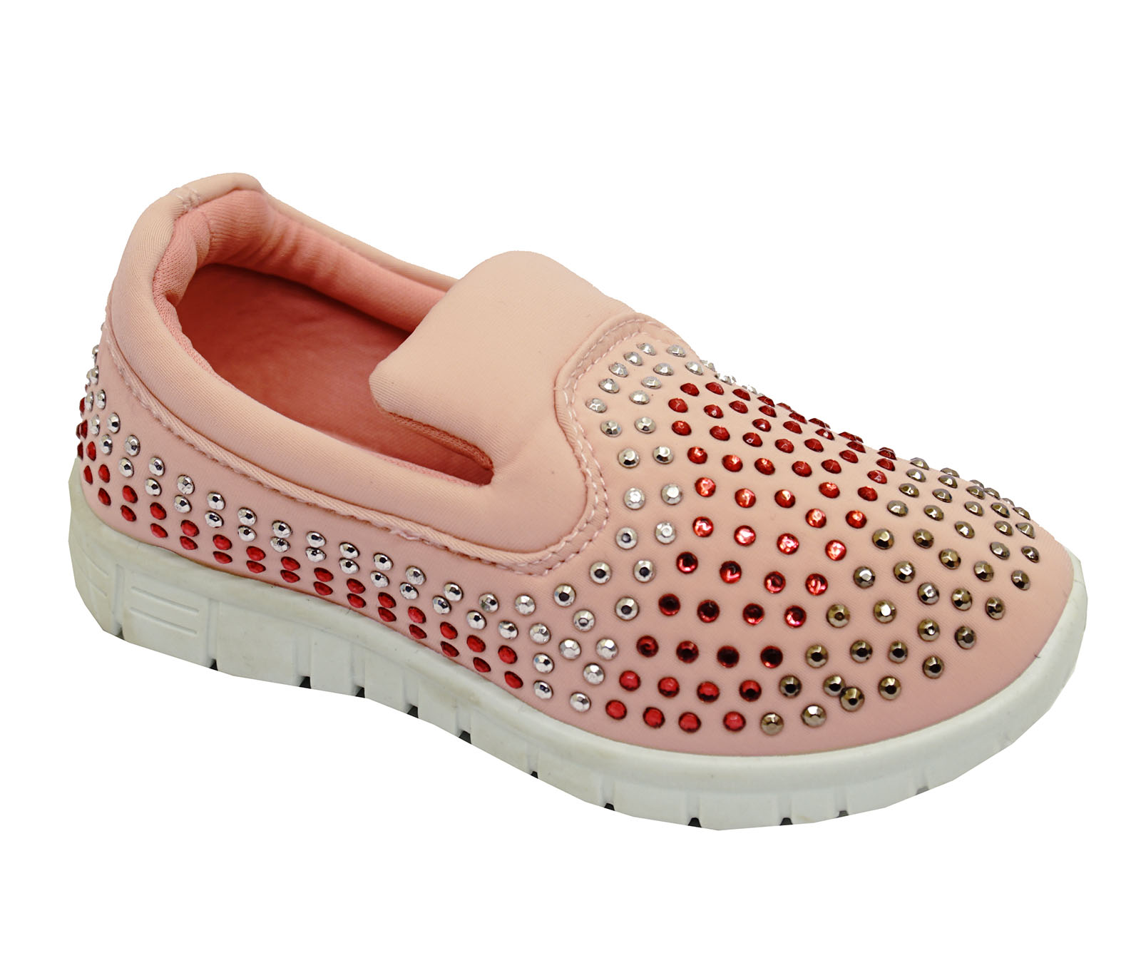 Niñas Niños Childrens Rosa Slip-on entrenadores Diamante Playera Zapatos De Salón Uk 10-3