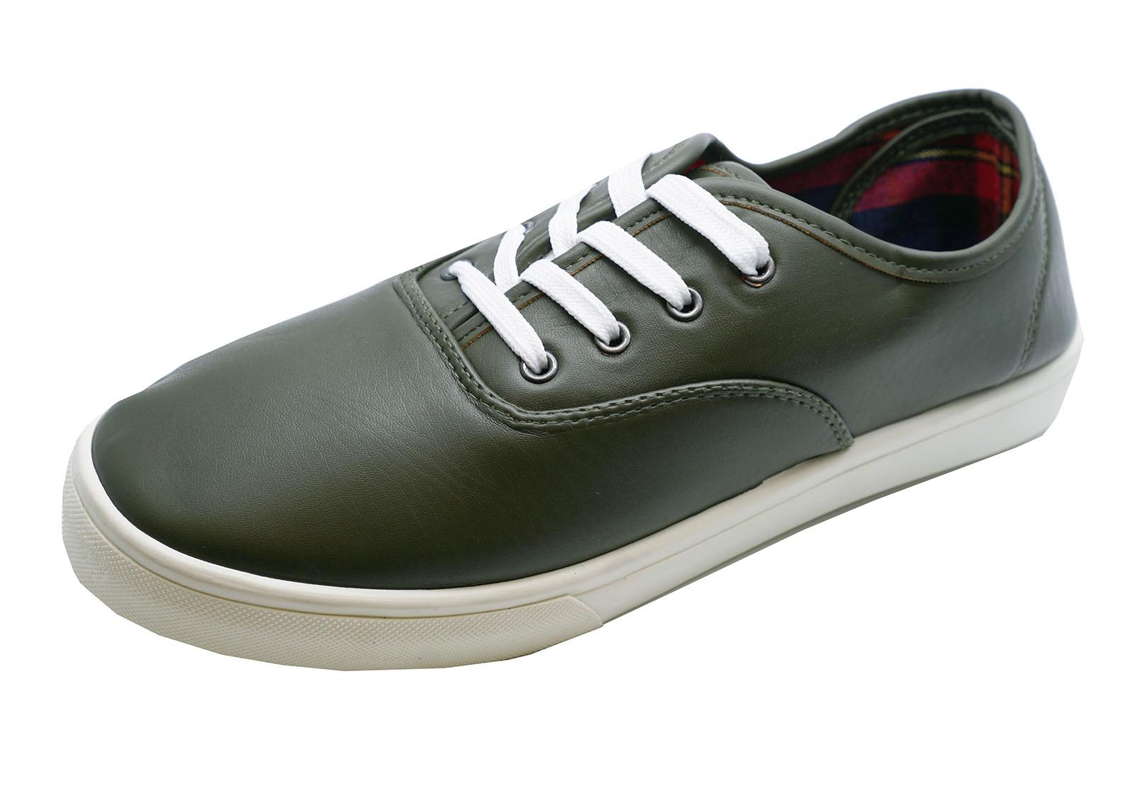 Hombre-Caqui-Planos-Casual-Con-Cordones-Zapatillas-De-Lona-Zapatos-Comodos-GB