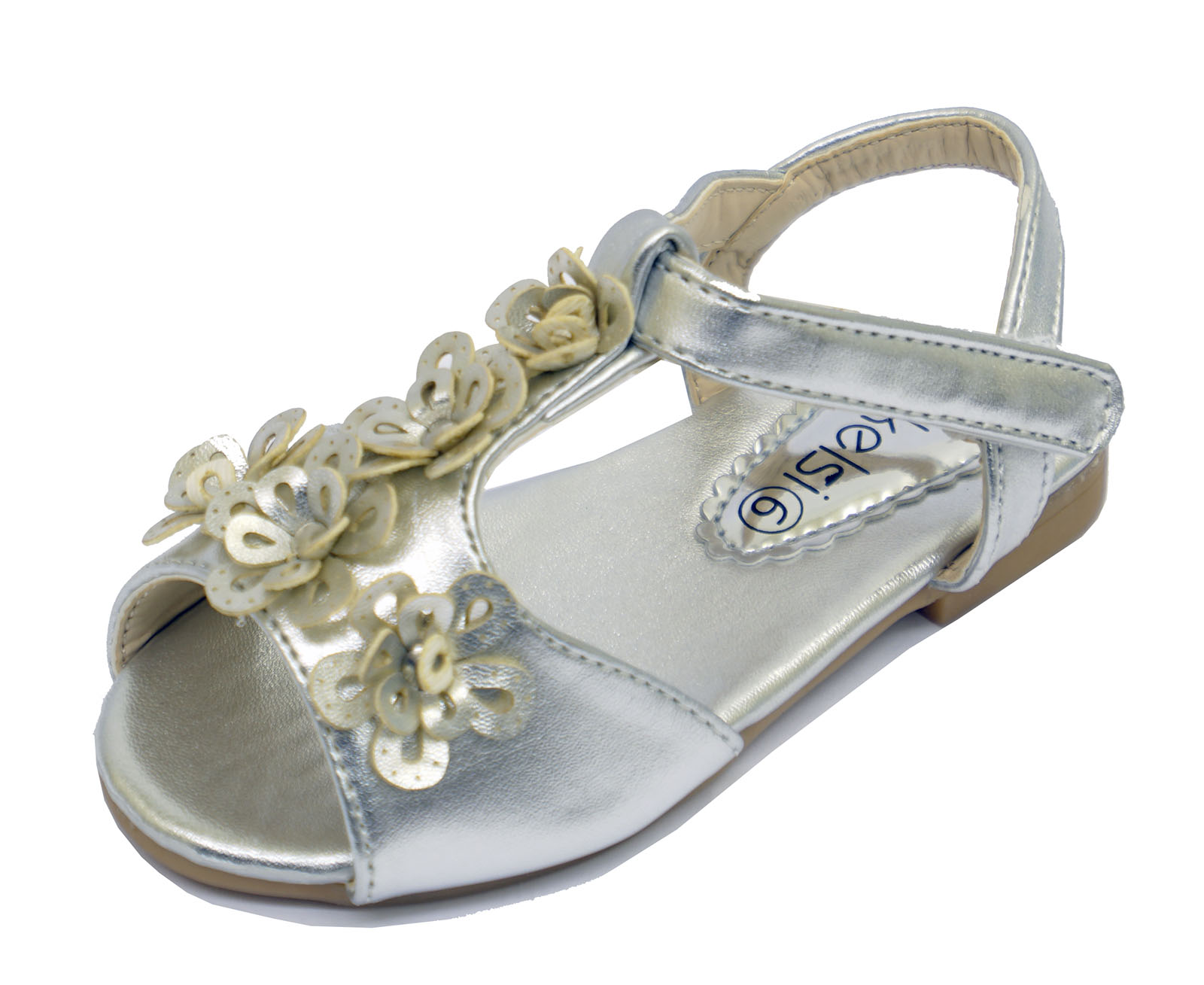 LITTLE GIRLS CHILDRENS SILVER FLOWER WEDDING SANDALS T-BAR INFANT KIDS SHOES 3-7