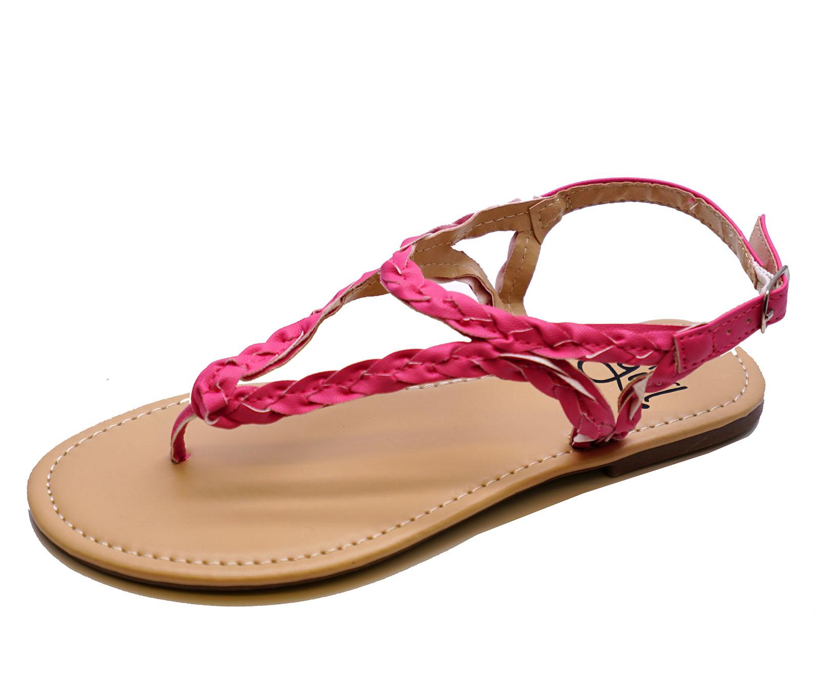Niñas Childrens Plana Rosa Sandalias del Dedo del Pie-Post Vacaciones Verano Niños Zapatos Tallas 11-4