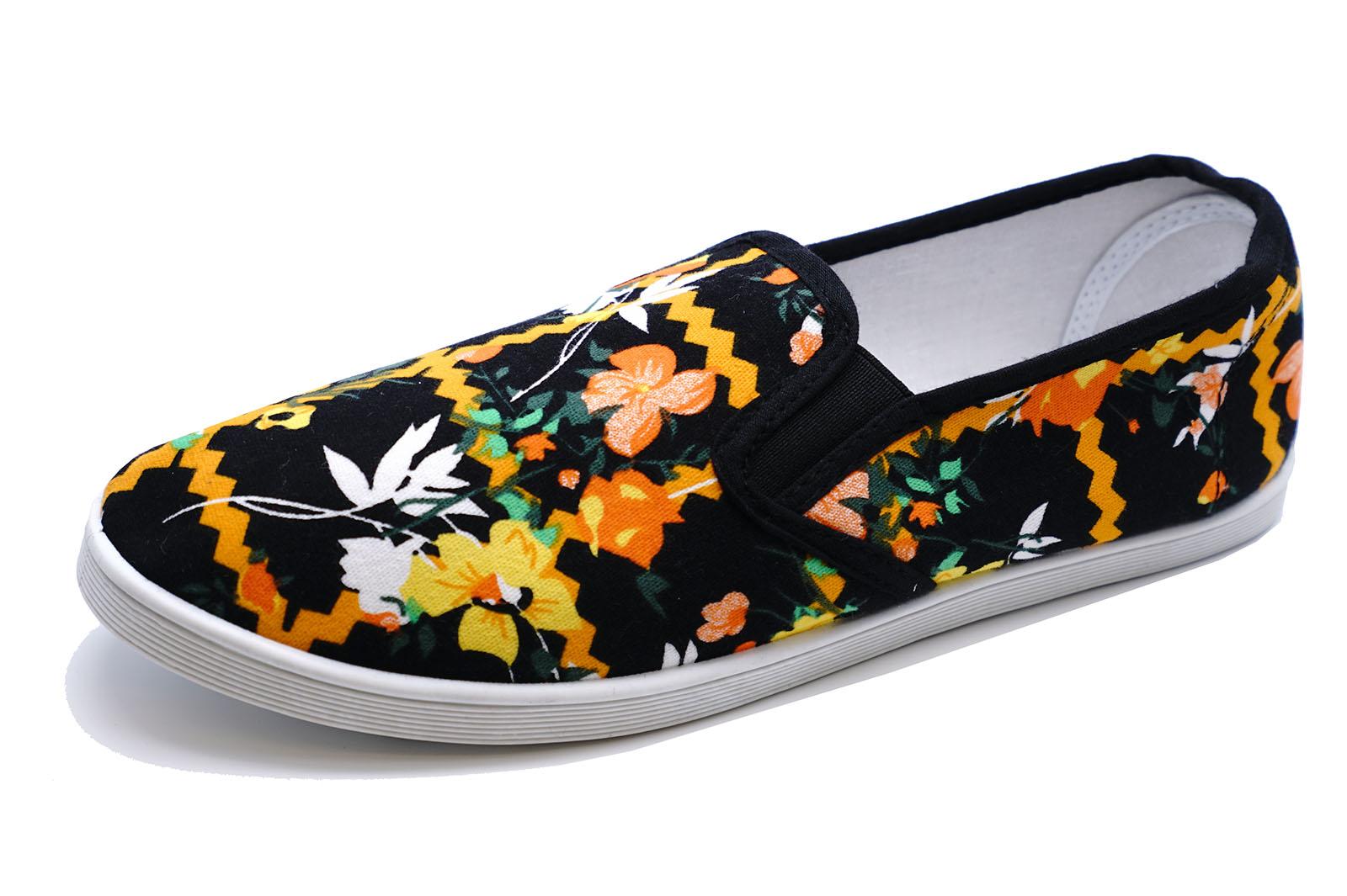 Para mujer Negro Naranja Slip-on Lona Plano Sin Cordones Cómodo Zapatos 3-8 bombas de flotación