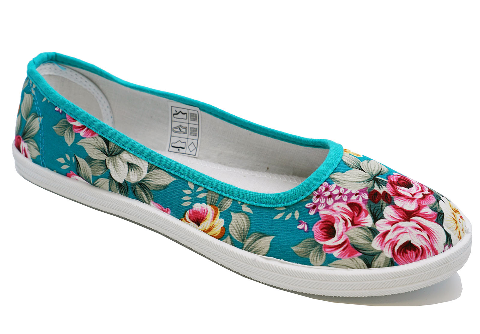 LADIES GREEN FLORAL CANVAS FLAT SLIP-ON PLIMSOLL PUMPS CASUAL SHOES SIZES 3-8