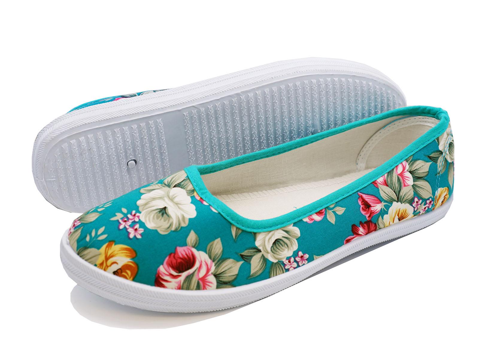 Damas Verde Floral Lona Plana Slip-on Playera Bombas Zapatos Informales Tallas 3-8