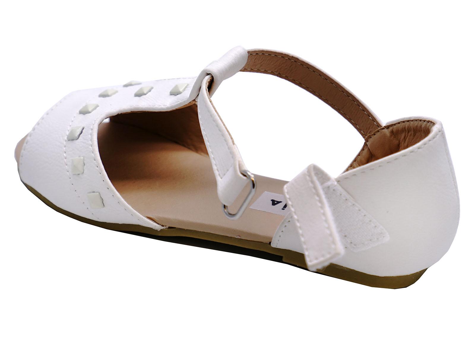 Niñas Niños Childrens Blanco Sandalias Gladiador Sin Cordones Verano Zapatos Tallas 7-12