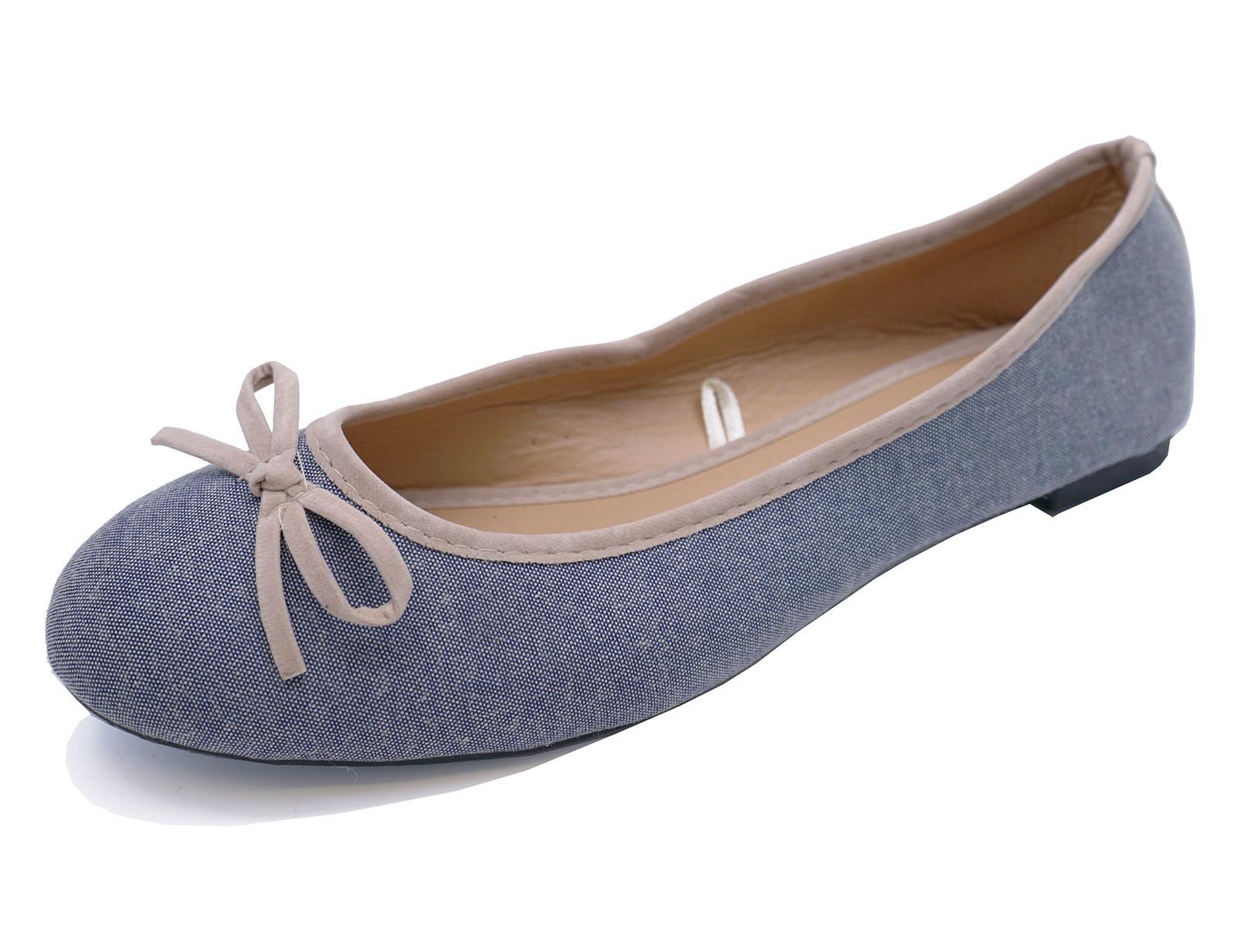 Mujeres Plana Azul Lona Sin Cordones Bombas Cómodos Zapatos informales Dolly Bailarina Uk 3-8