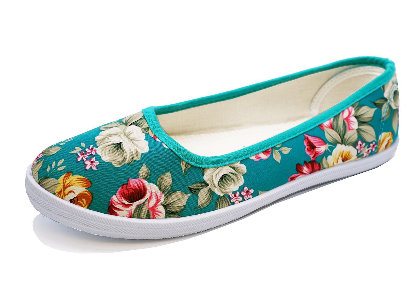 Mujer Lona Verde Plano Sin Cordones Cómodos Zapatos Florales Dolly Playera bombas UK 3-8