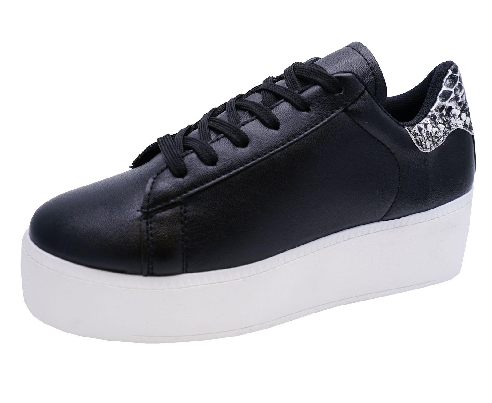 Mujer Negro Con Cordones Plataforma Plana Zapatillas Skater Zapatos 3-8