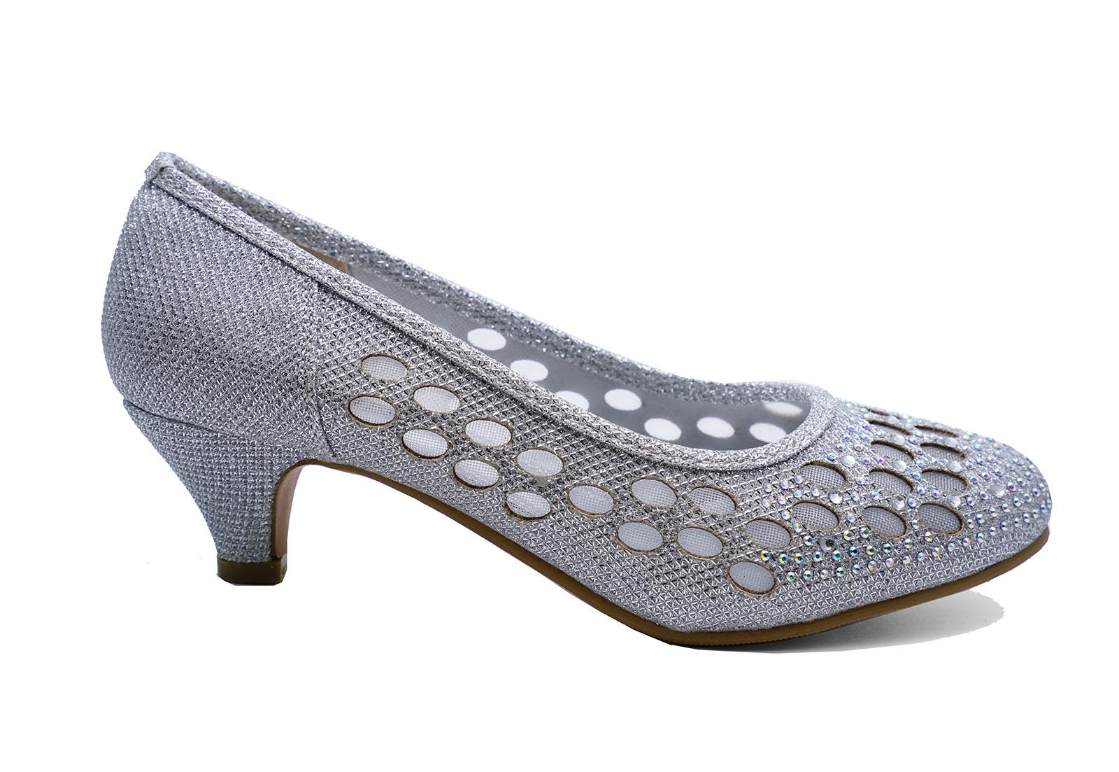 d6e78565ae2d Small Kitten Heel Shoes. LADIES SILVER WEDDING BRIDAL BRIDESMAID PROM  DIAMANTE KITTEN HEEL .