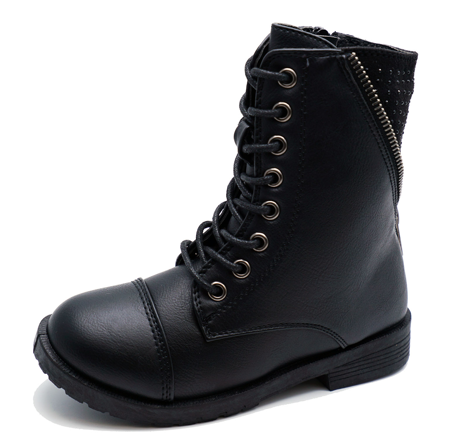 GIRLS KIDS CHILDRENS BLACK LACE-UP SCHOOL ZIP-UP CALF ANKLE BOOTS SHOES 8-13