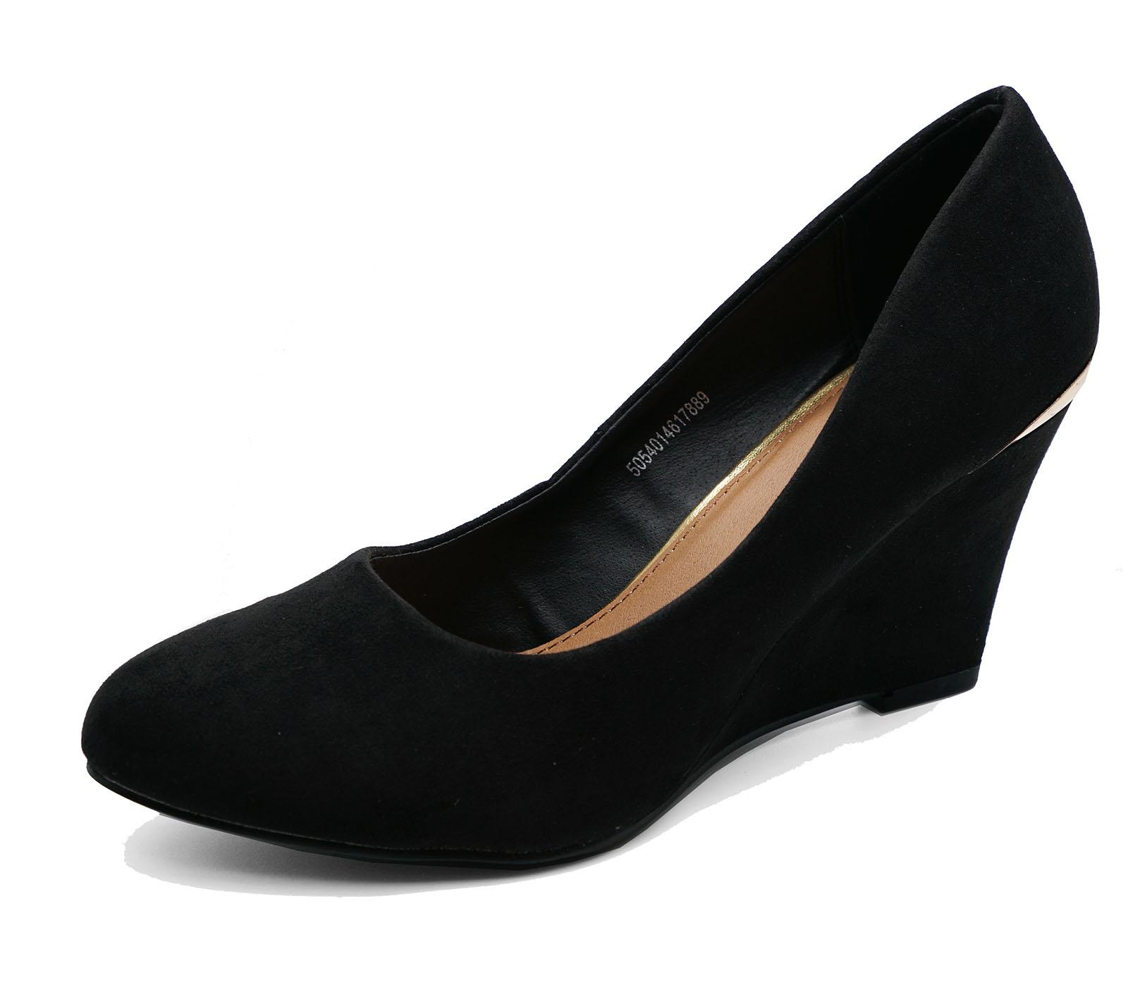 Señoras Negras Sin Cordones Tacón Bajo Cuña Zapatos Tribunal Zapatos de trabajo inteligente Tamaños 3 & 4