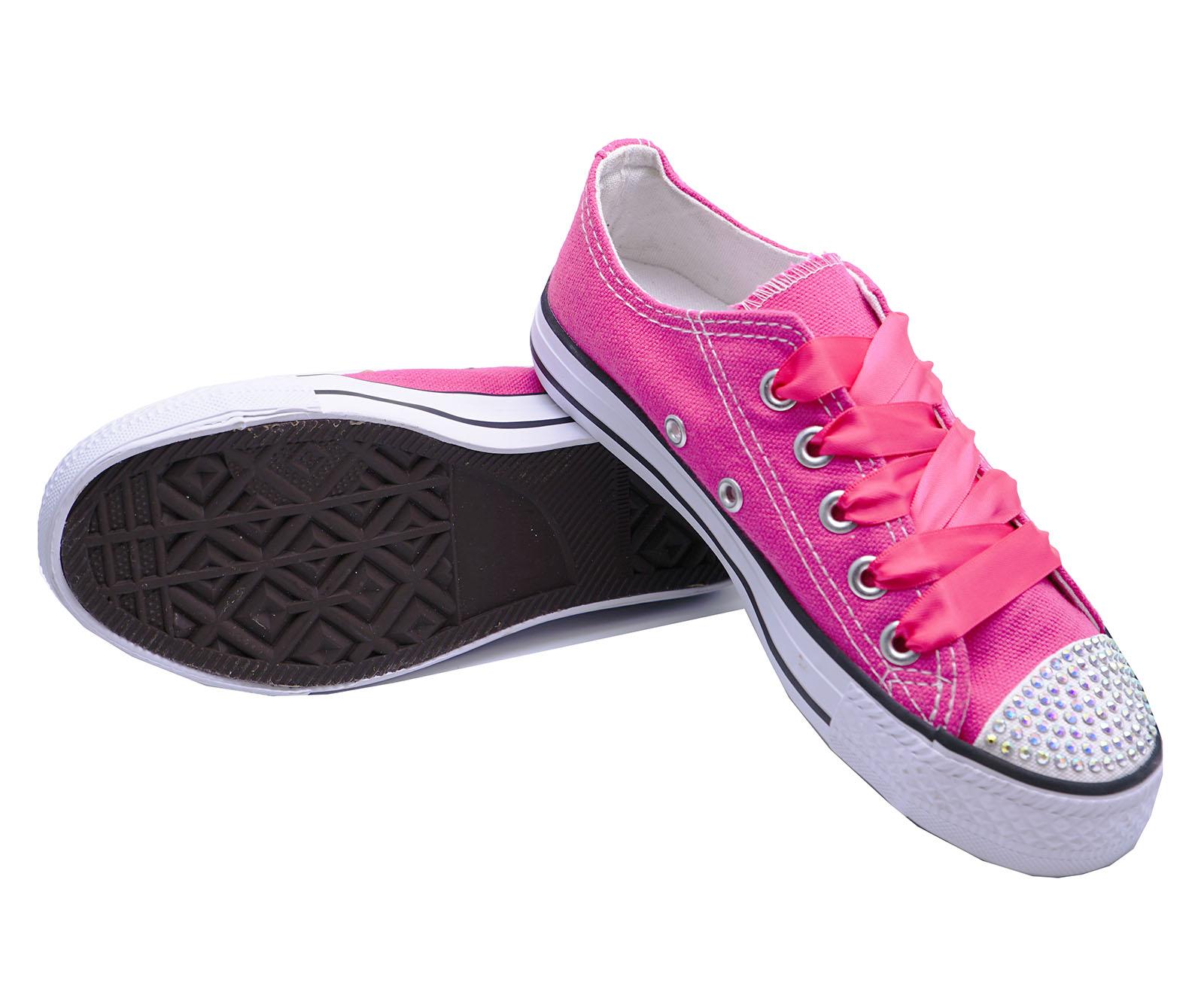 Señoras Rosa Diamante Con Cordones De Lona Playera Bombas Zapatos informales Zapatillas UK 3-8