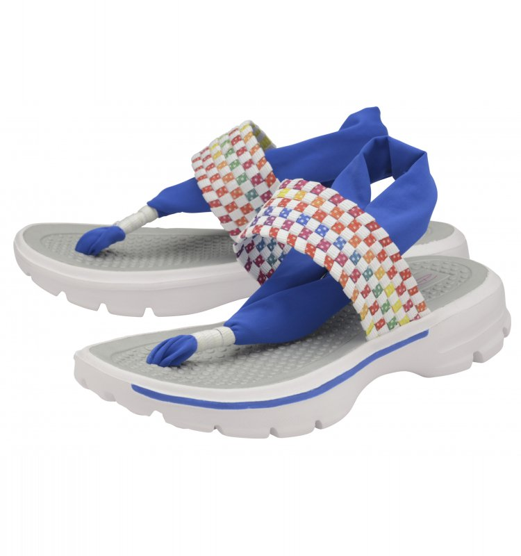 LADIES DOLCIS REESE WHITE FLAT COMFY WALKING SANDALS TOE-POST HOLIDAY SHOES 3-8