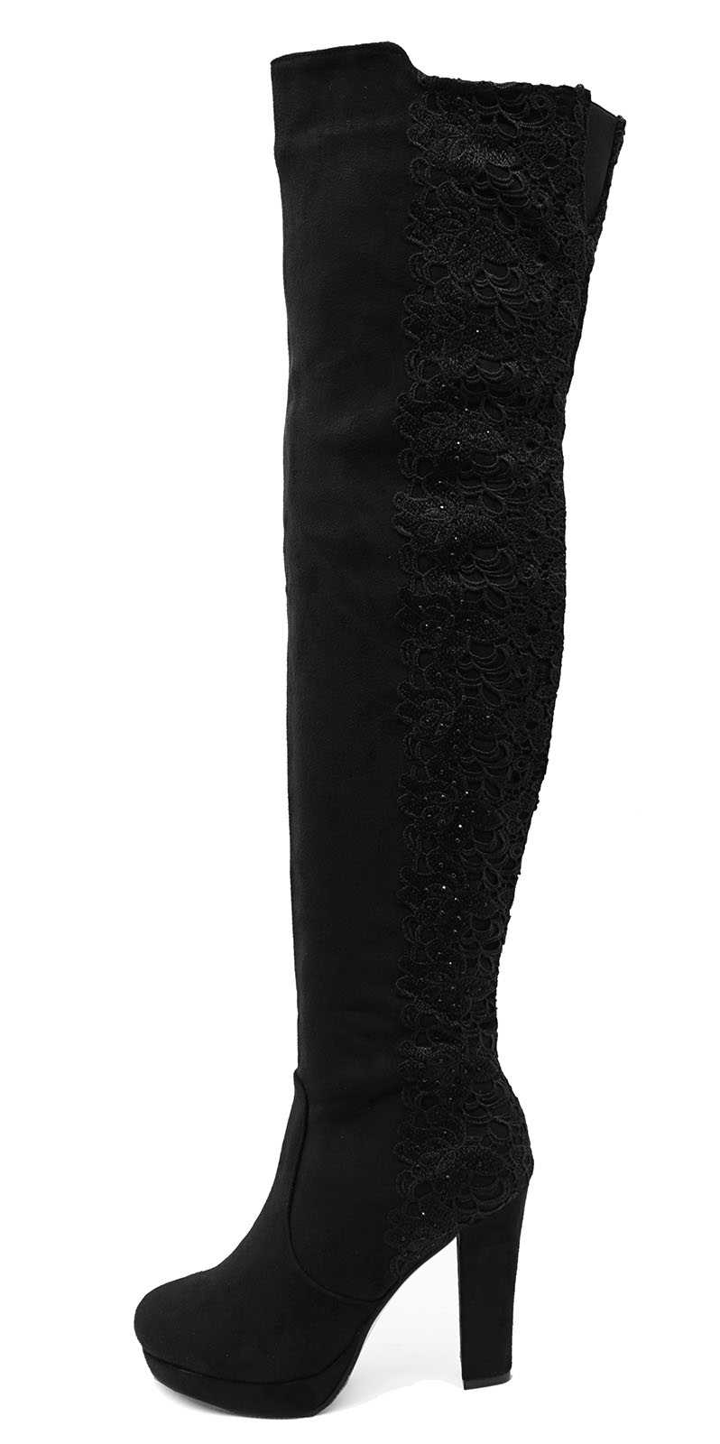 LADIES BLACK LACE OVER THE KNEE HIGH ZIP-UP STRETCH PLATFORM BOOTS SHOES UK 3-8