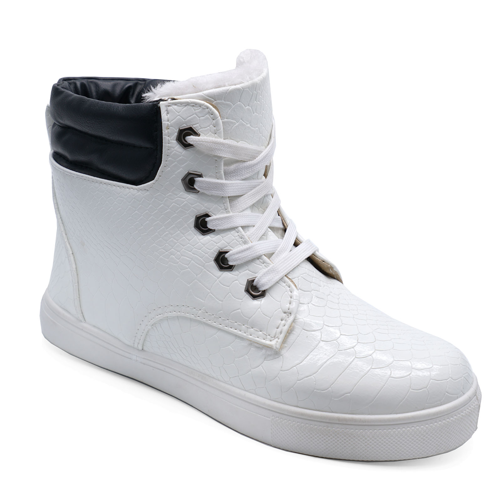 LADIES FLAT WHITE WARM FLEECE-LINED HI-TOP TRAINER COMFY ANKLE BOOTS SHOES 3-8