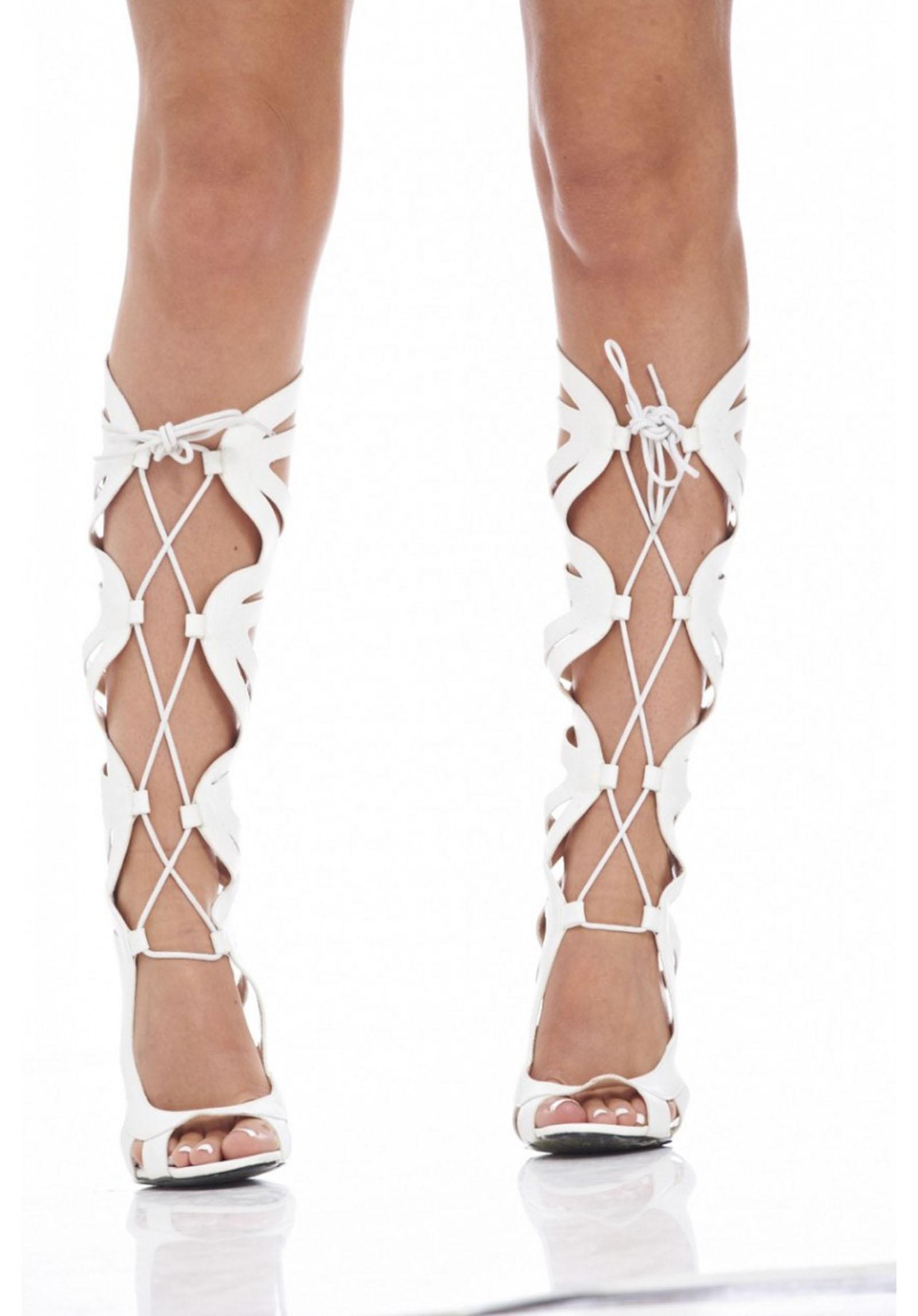 LADIES WHITE LACE-UP ROMAN CAGE GLADIATOR SANDAL STILETTO ZIP-UP BOOTS SHOES 3-7