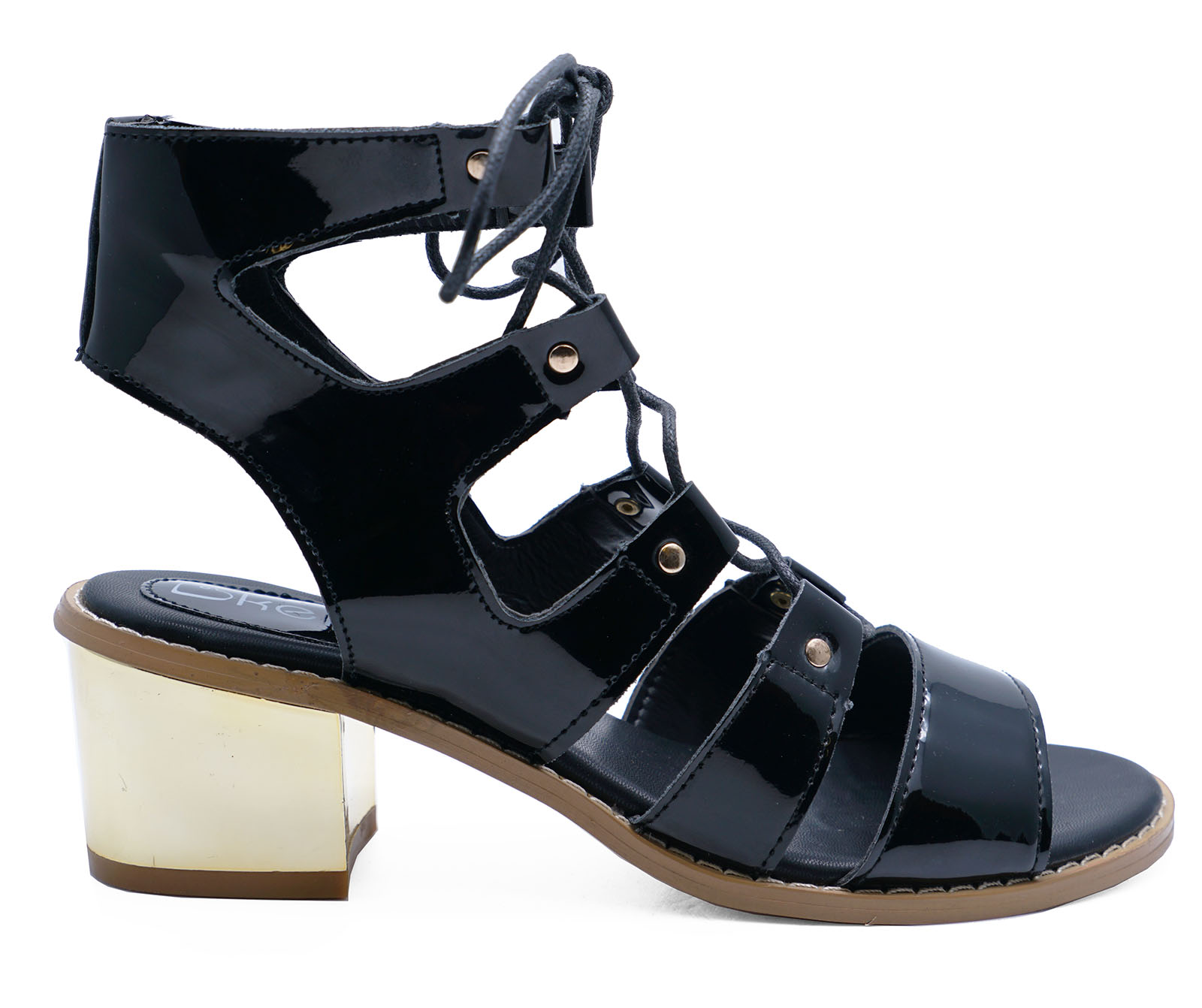 LADIES BLACK LACE-UP GLADIATOR PEEP-TOE STRAPPY SANDALS SHOES BOOTS SIZES 3-8