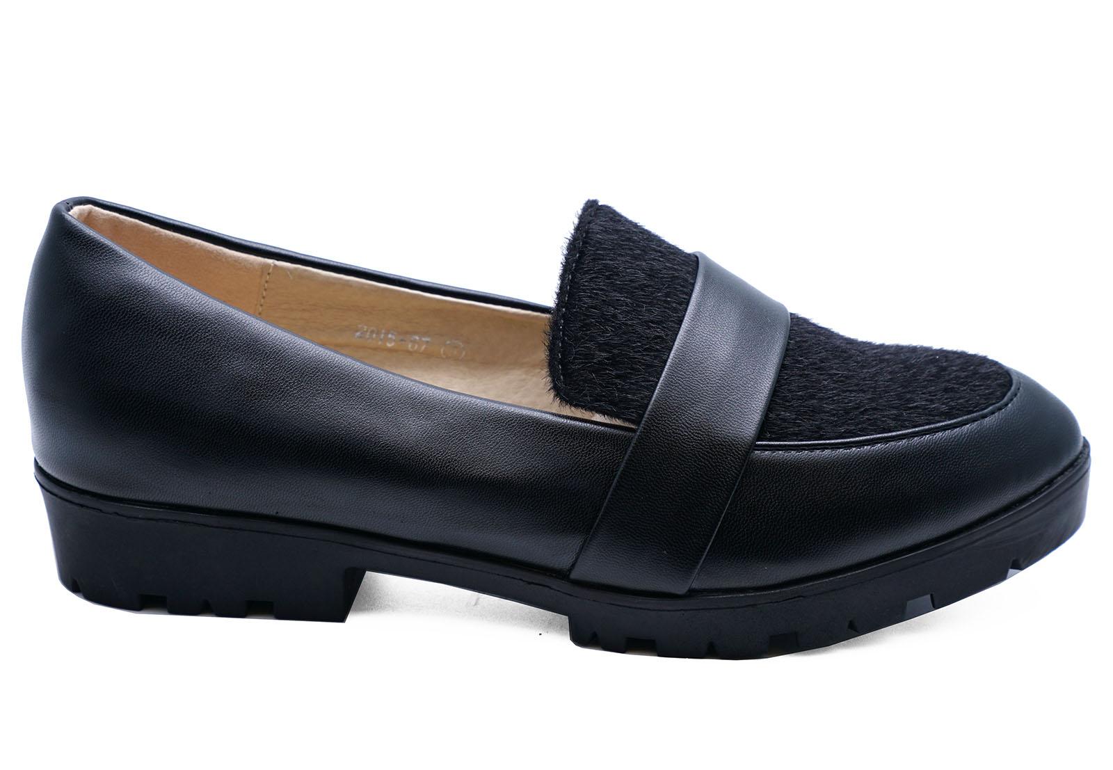Femmes Noir Mocassins Slip-on verrouillées Plat Smart Confortable Travail École Chaussures Uk 3-7