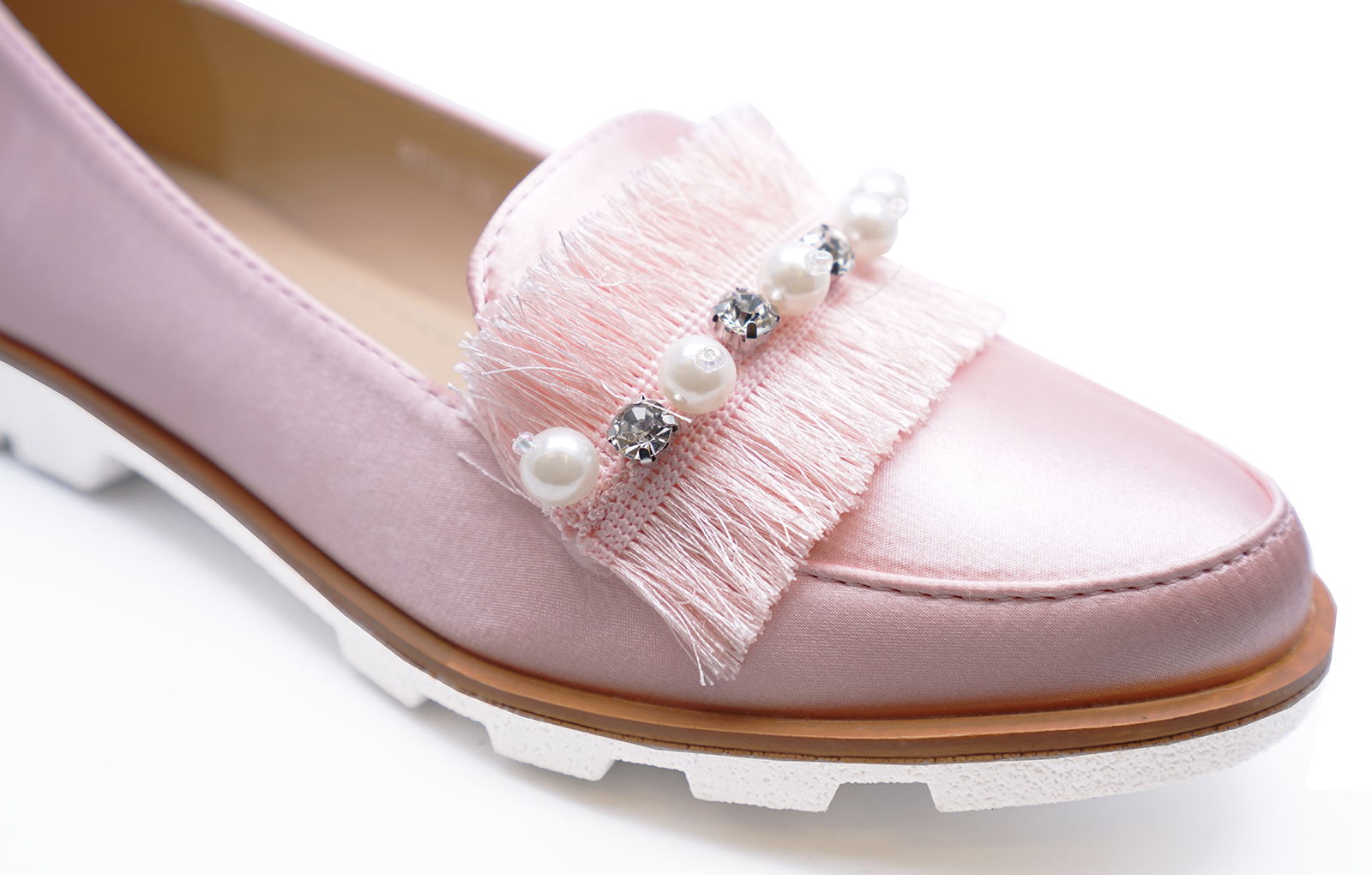 LADIES PINK SLIP-ON SATIN LOAFERS SMART CASUAL FLAT COMFY PUMPS SHOES SIZES 3-8