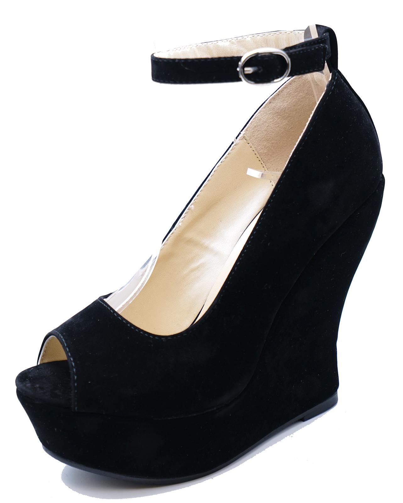WOMENS BLACK FAUX-SUEDE PEEP-TOE SLIP-ON WEDGES HIGH HEEL SANDALS SHOES UK 3-7