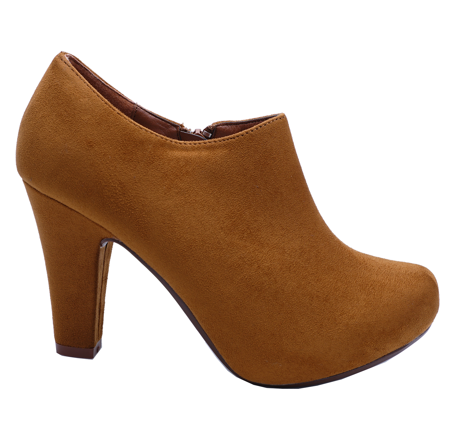 LADIES TAN ZIP-UP SMART CASUAL WORK COMFY CHELSEA ANKLE BOOTS SHOES SIZES 2-7