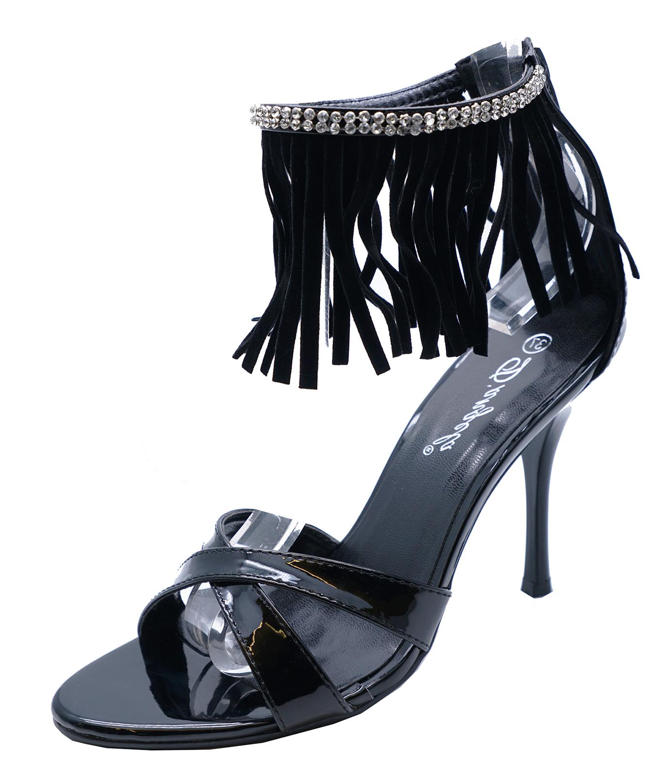 LADIES BLACK STRAPPY PEEP-TOE FRINGE ZIP-UP HIGH-HEEL SANDALS SHOES SIZES 2-7