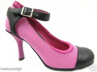 View Item HOT PINK BLACK ROUND TOE TRAINER COURT SHOES