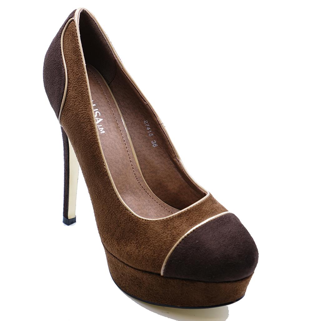 LADIES BROWN FAUX-SUEDE SLIP-ON STILETTO HIGH HEEL PLATFORM COURT SHOES UK 2-7