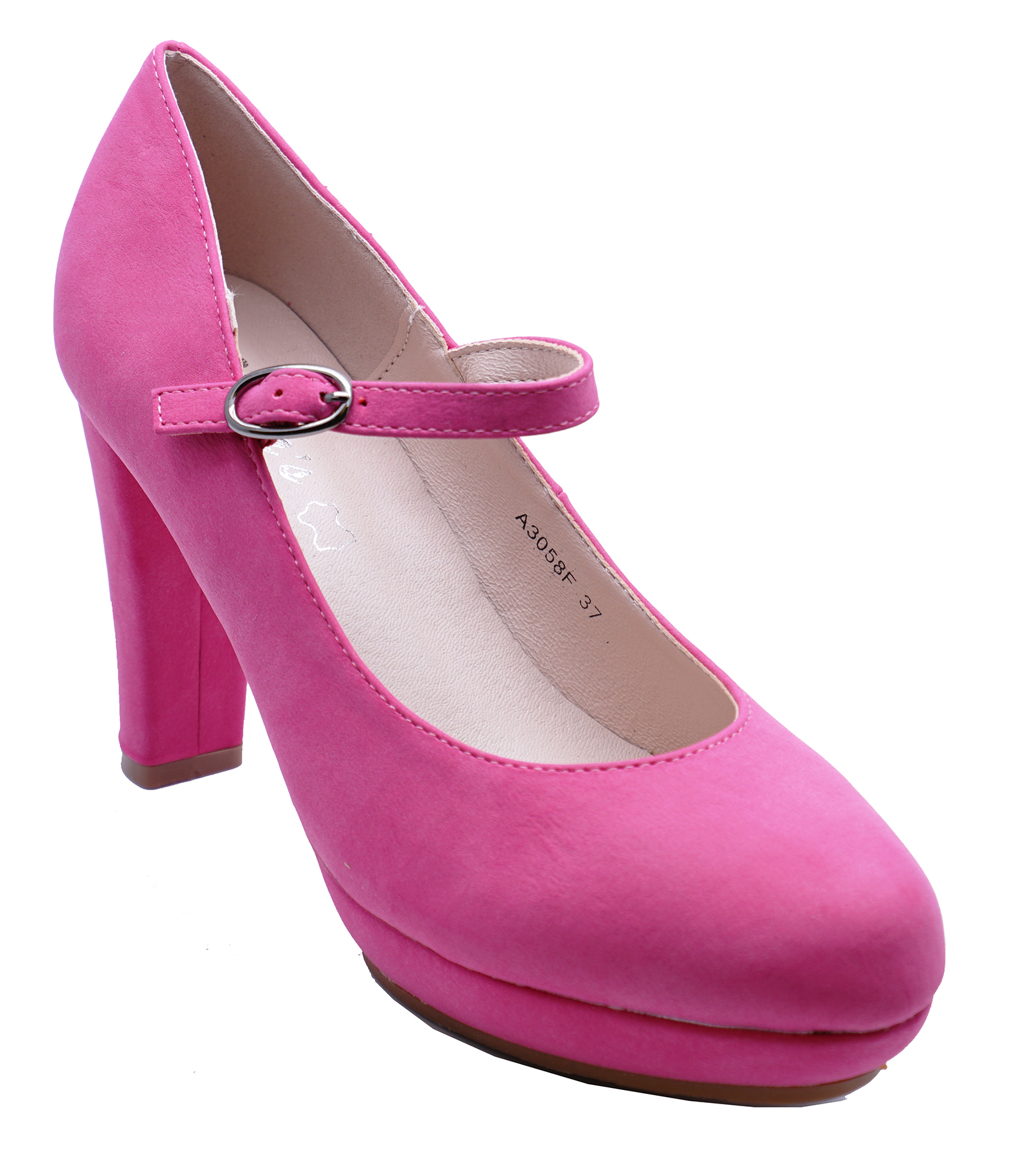 LADIES PINK HIGH-HEEL MARY-JANE COMFY WORK SLIP-ON CASUAL COURT SHOES UK 2-7