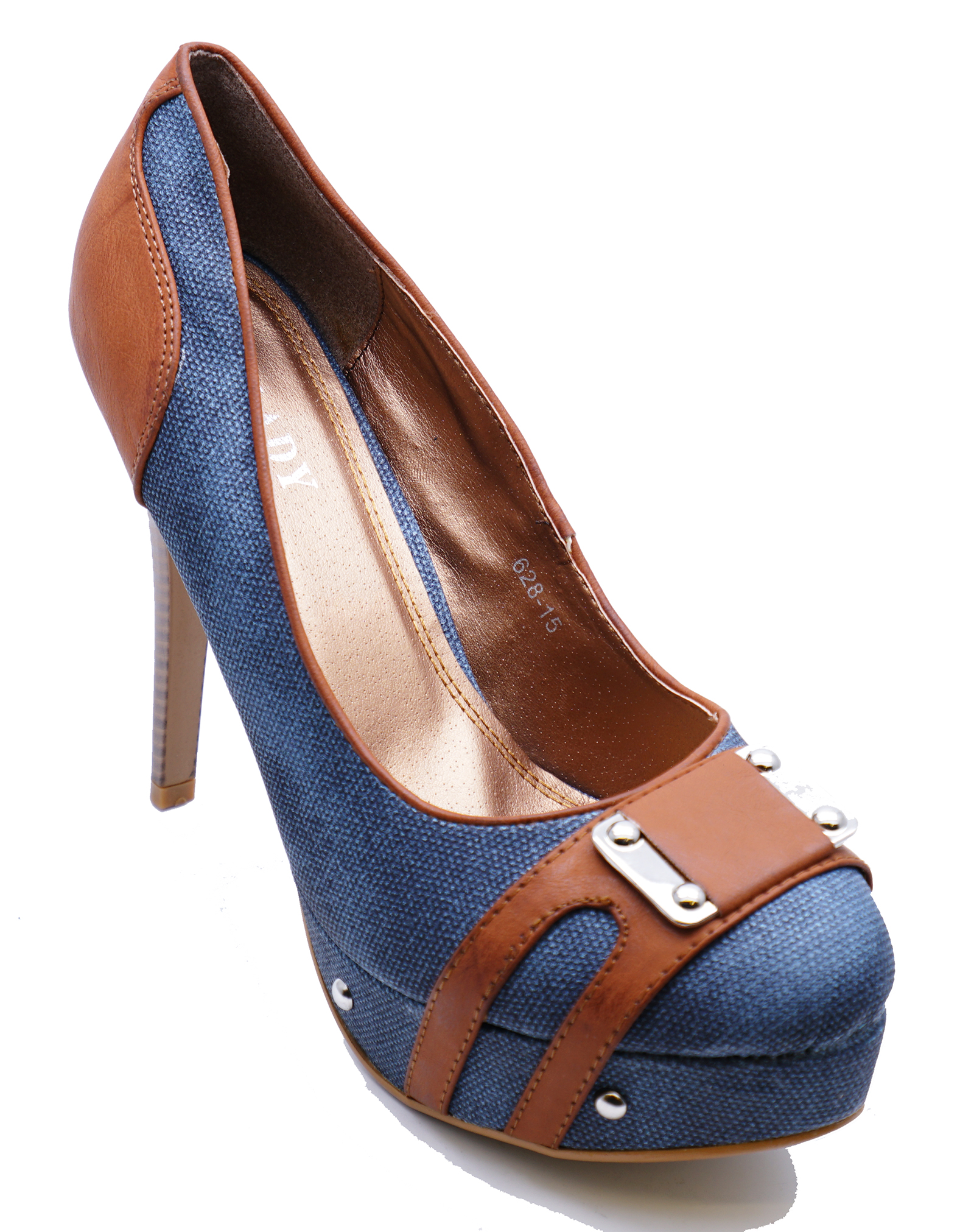 LADIES DENIM STILETTO ELEGANT HIGH-HEEL SLIP-ON PLATFORM COURT SHOES SIZES 3-8