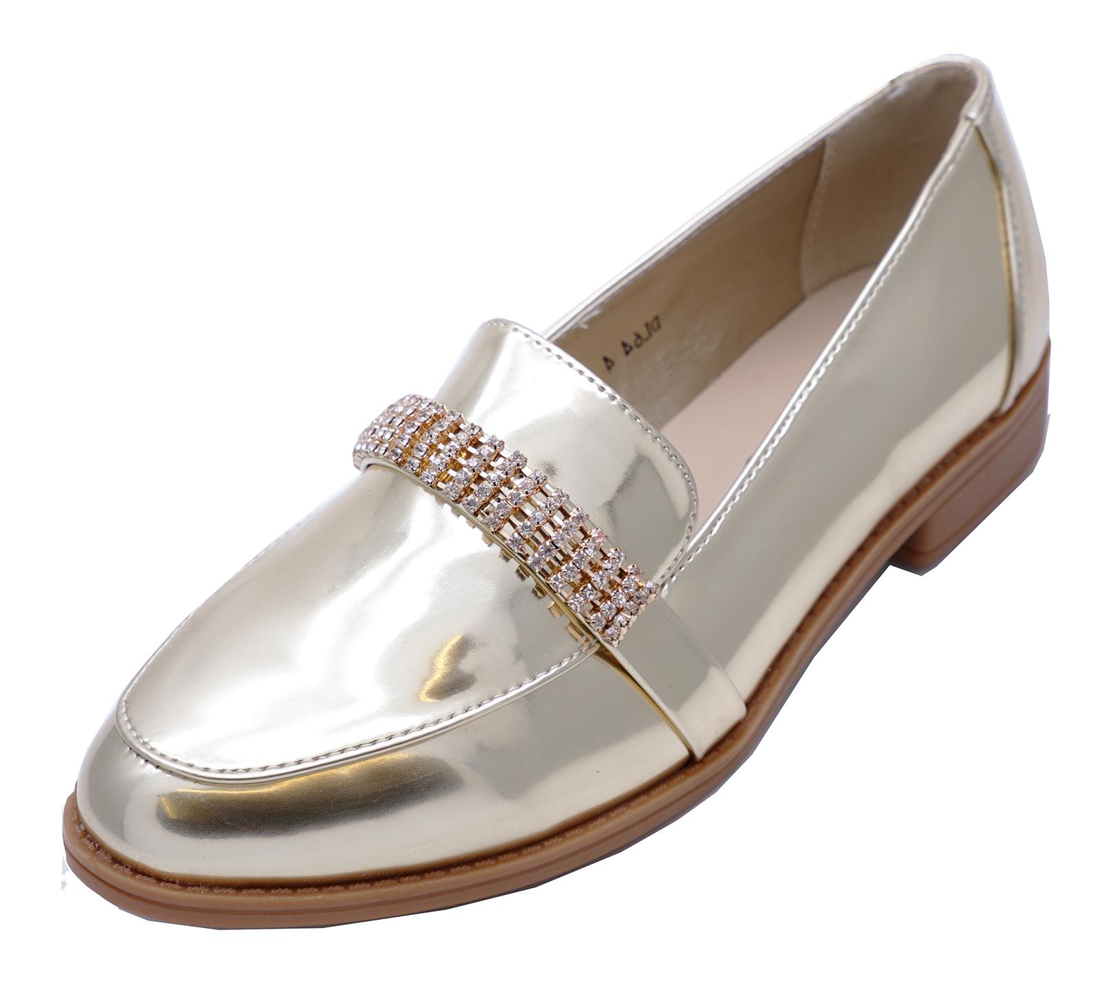 Donna Brevetto d/'oro e diamante Slip-On Mocassini Smart Casual A COMODI BASSI TG UK 3-8