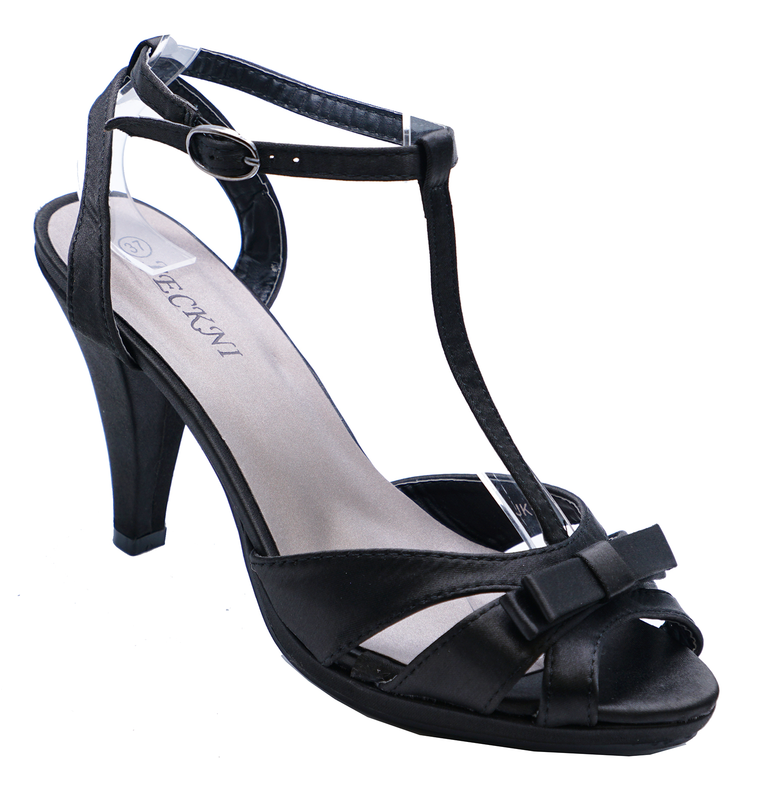 LADIES BLACK SATIN STRAPPY SLIP-ON PEEP-TOE EVENING SHOES T-BAR SANDALS UK 3-8