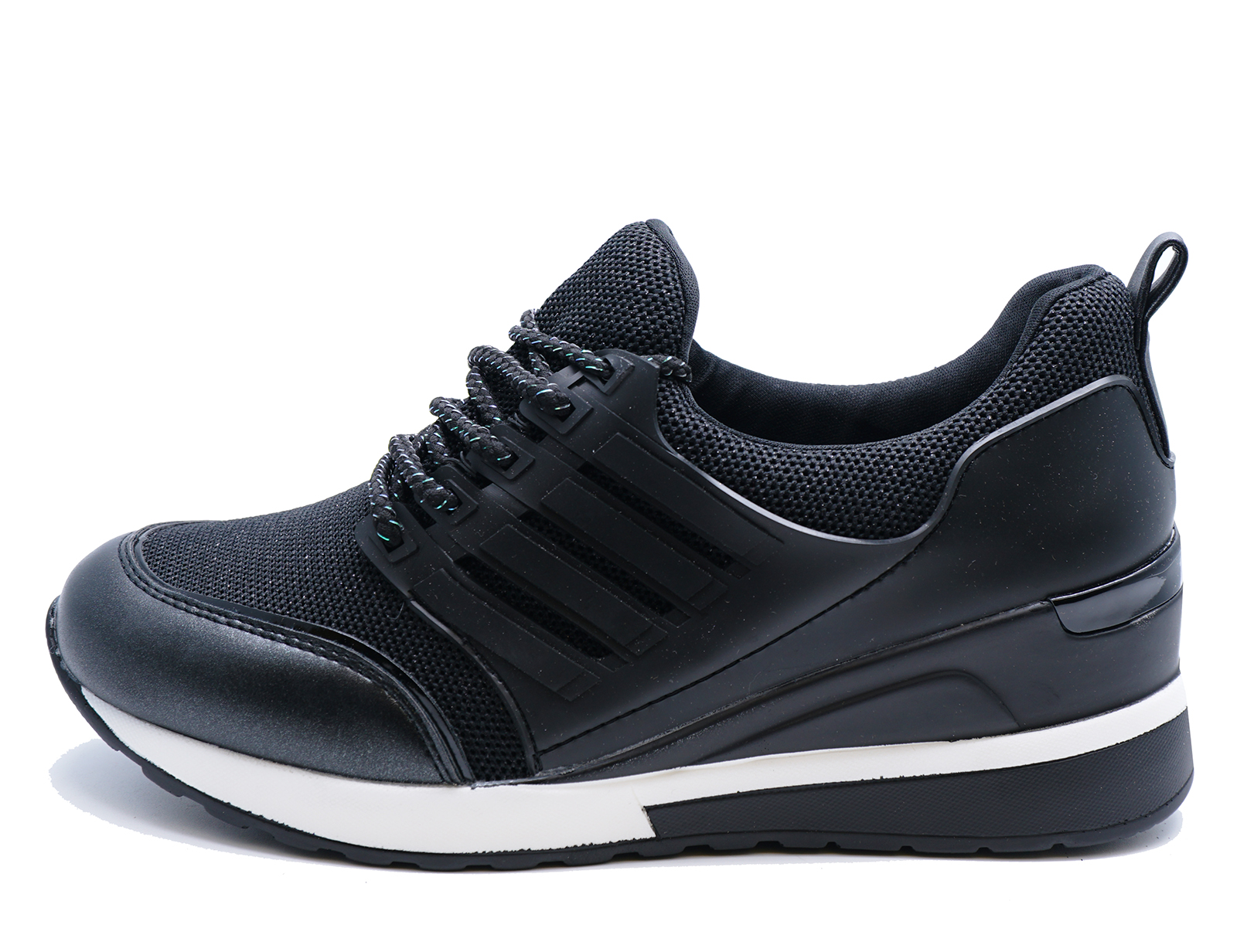 WOMENS BLACK SLIP-ON RUNNING WEDGE TRAINERS GYM PUMPS PLIMSOLLS SHOES UK 3-8