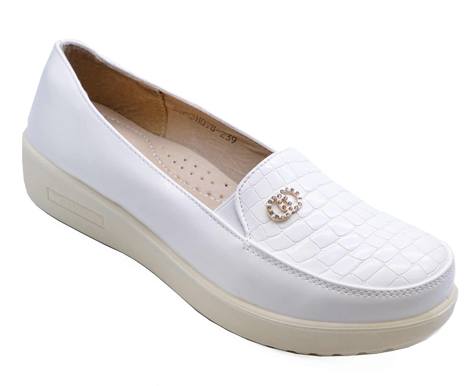 WOMENS WHITE SLIP-ON LOAFERS MOCCASIN CASUAL SMART COMFY SHOES PUMPS 2-8