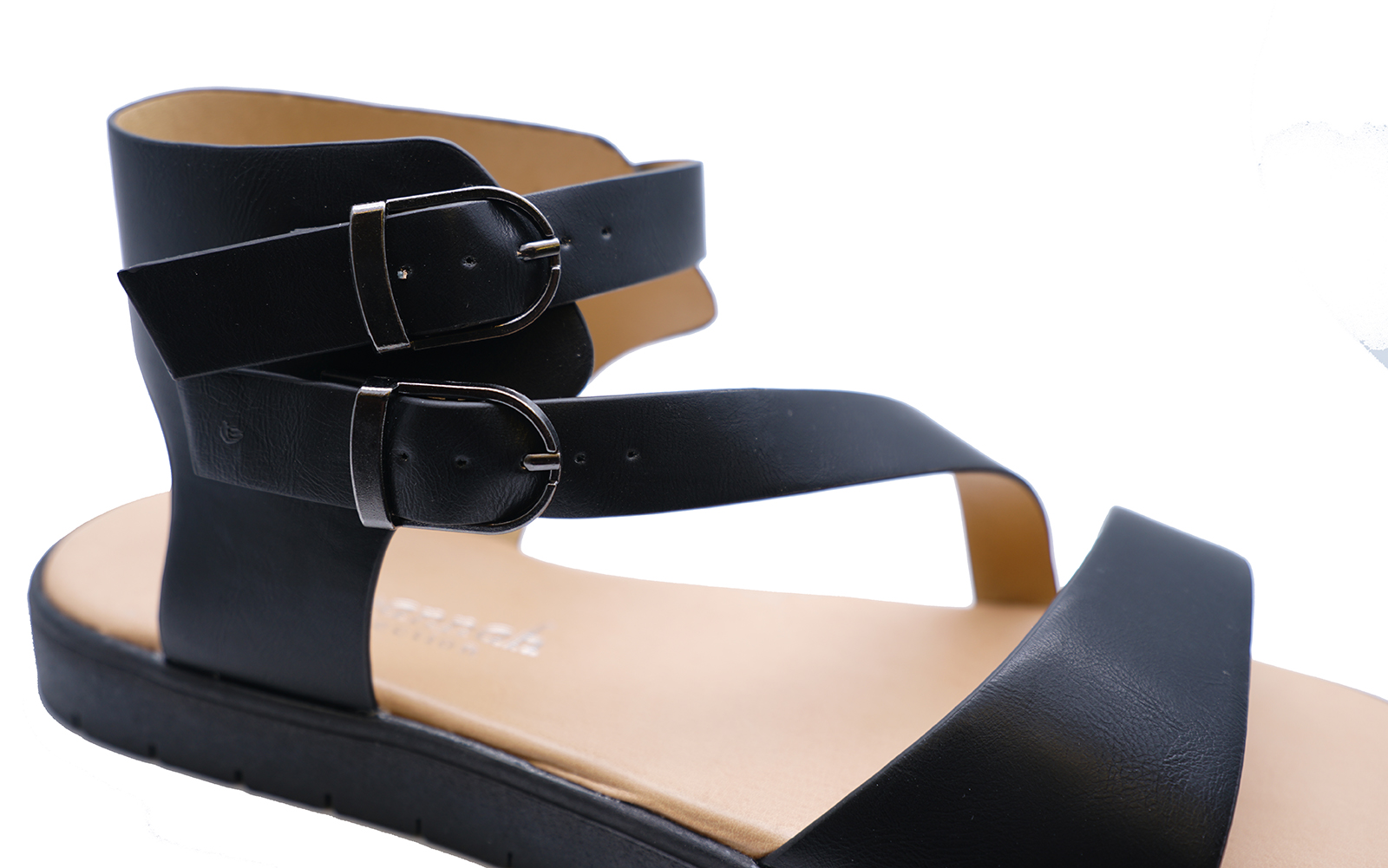 LADIES BLACK FLAT GLADIATOR SUMMER SANDALS COMFY WALKING ANKLE SHOES SIZES 3-8