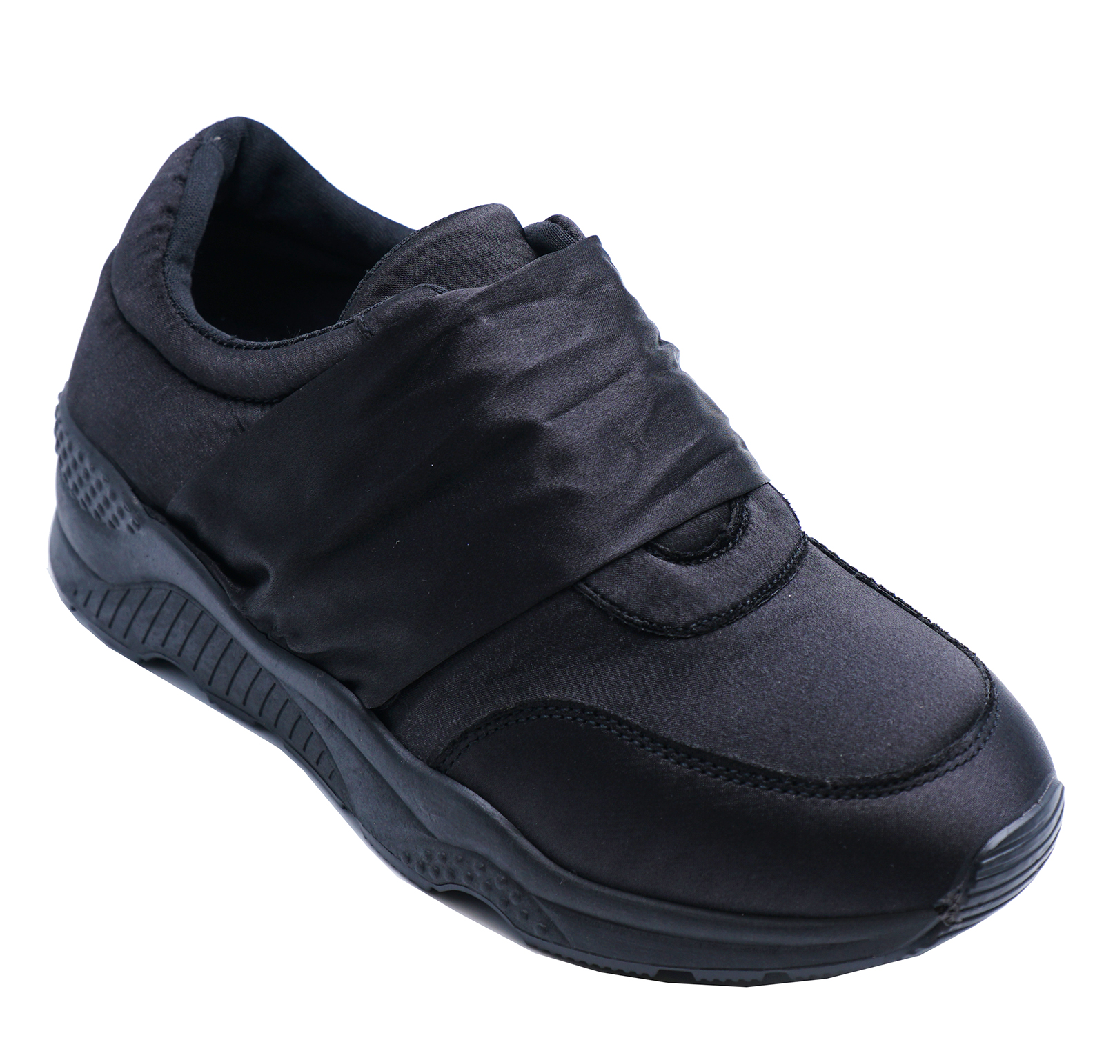WOMENS BLACK SATIN SLIP-ON TRAINERS CASUAL PUMPS PLIMSOLLS SPORTS SHOES 3-8