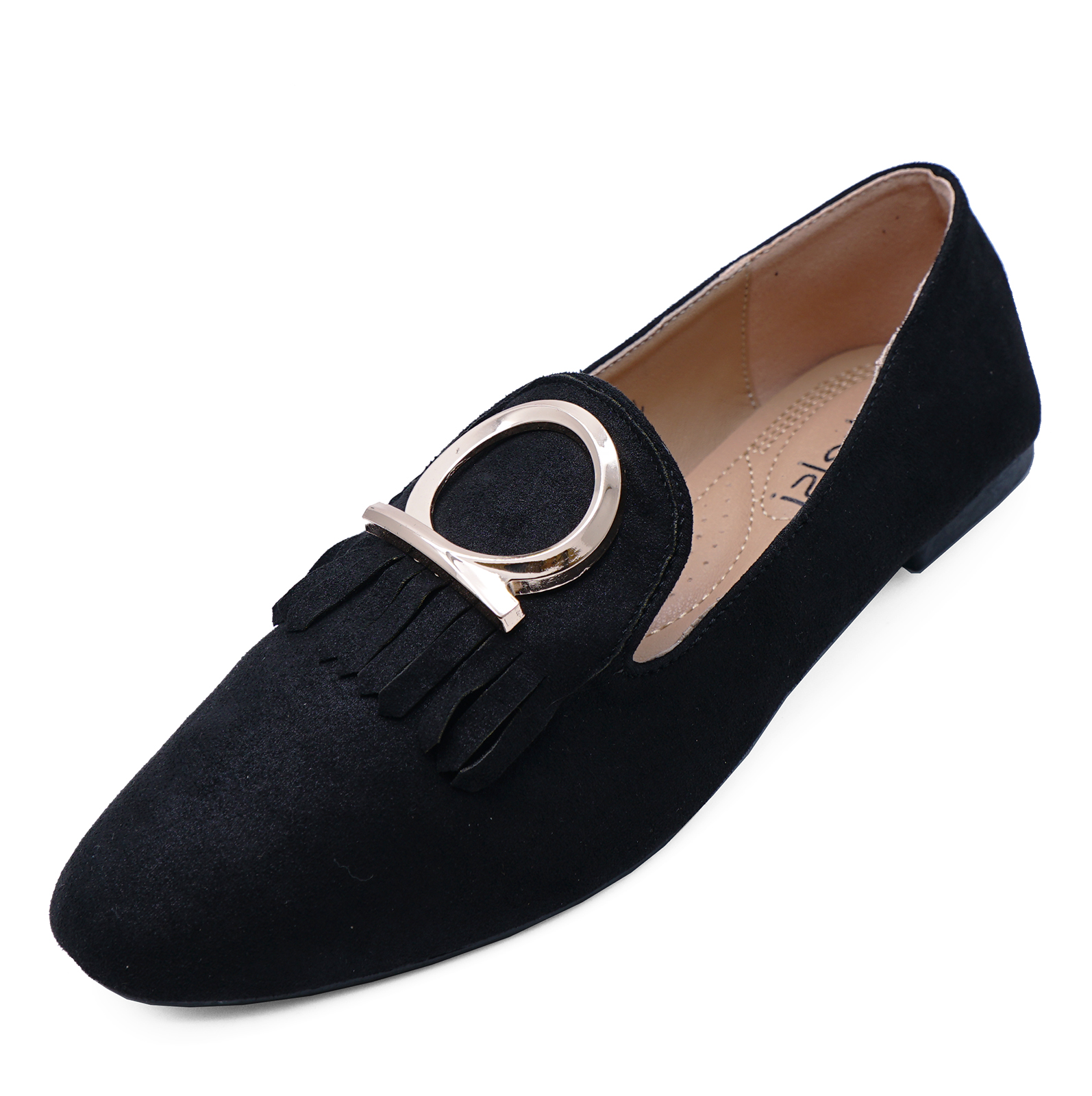 WOMENS BLACK FLAT SLIP-ON LOAFERS CASUAL FAUX SUEDE WORK SHOES PUMPS SIZES 3-8