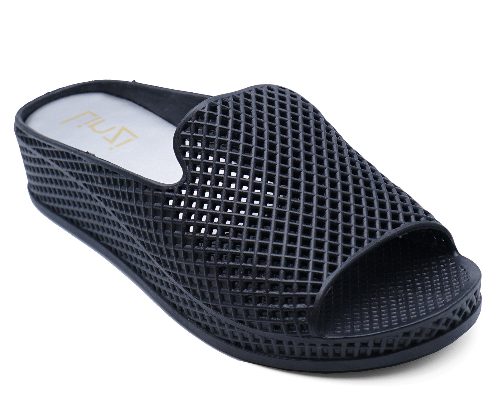 LADIES BLACK SLIP-ON OPEN-TOE COMFY JELLY MULES WEDGES SLIDER SANDALS SHOES 4-8
