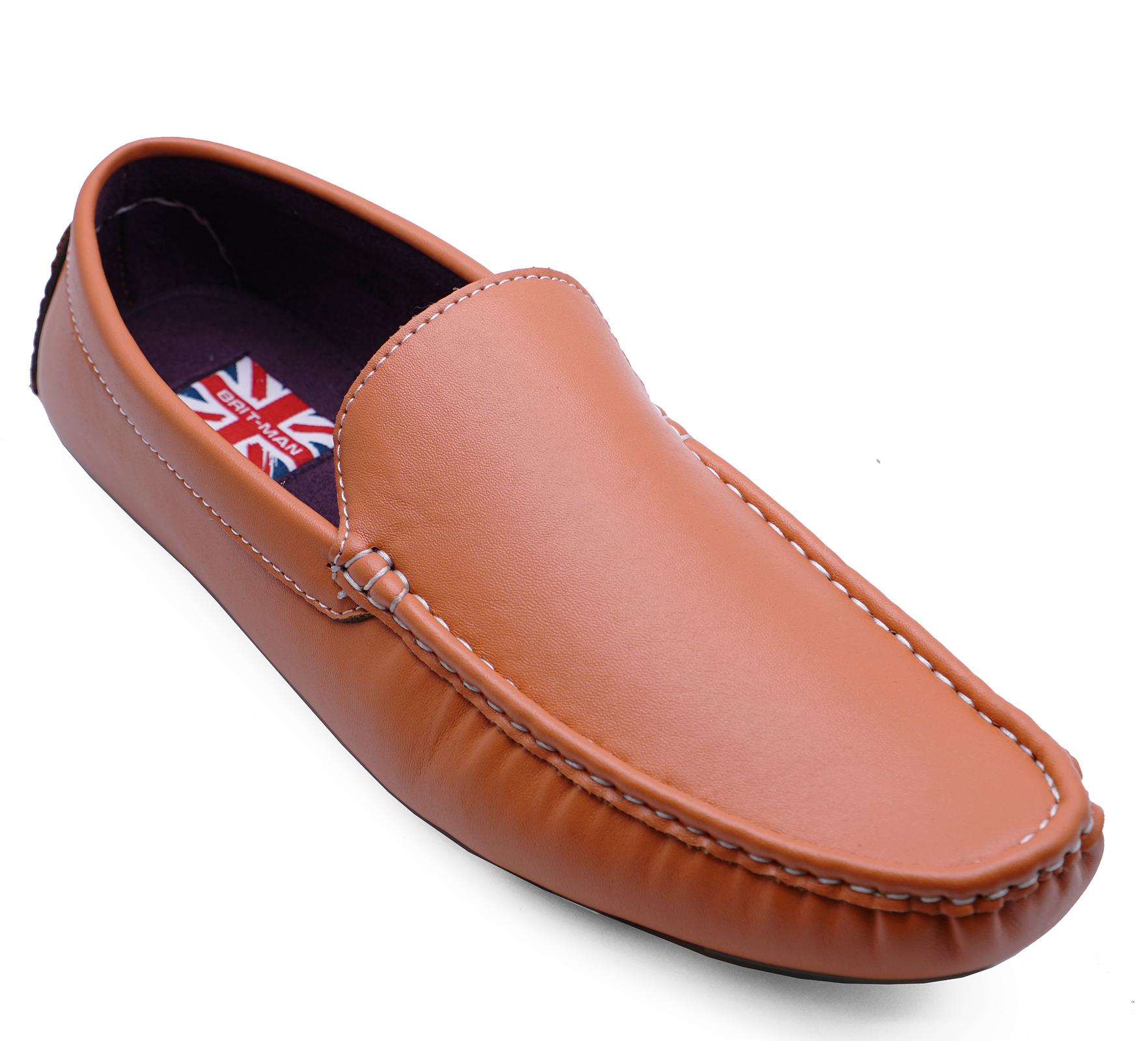 Homme Orange Plat Smart Casual Moccasin Mocassins Deck travail conduite Chaussures UK 6-11