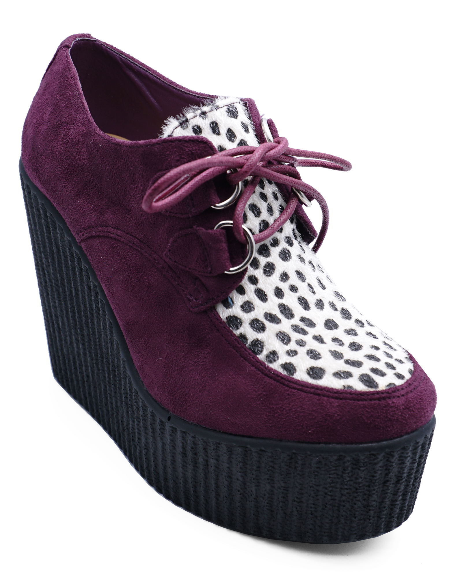 LADIES PURPLE LEOPARD PLATFORM CREEPERS LACE-UP WEDGE BROGUES LOAFERS SHOES 3-8