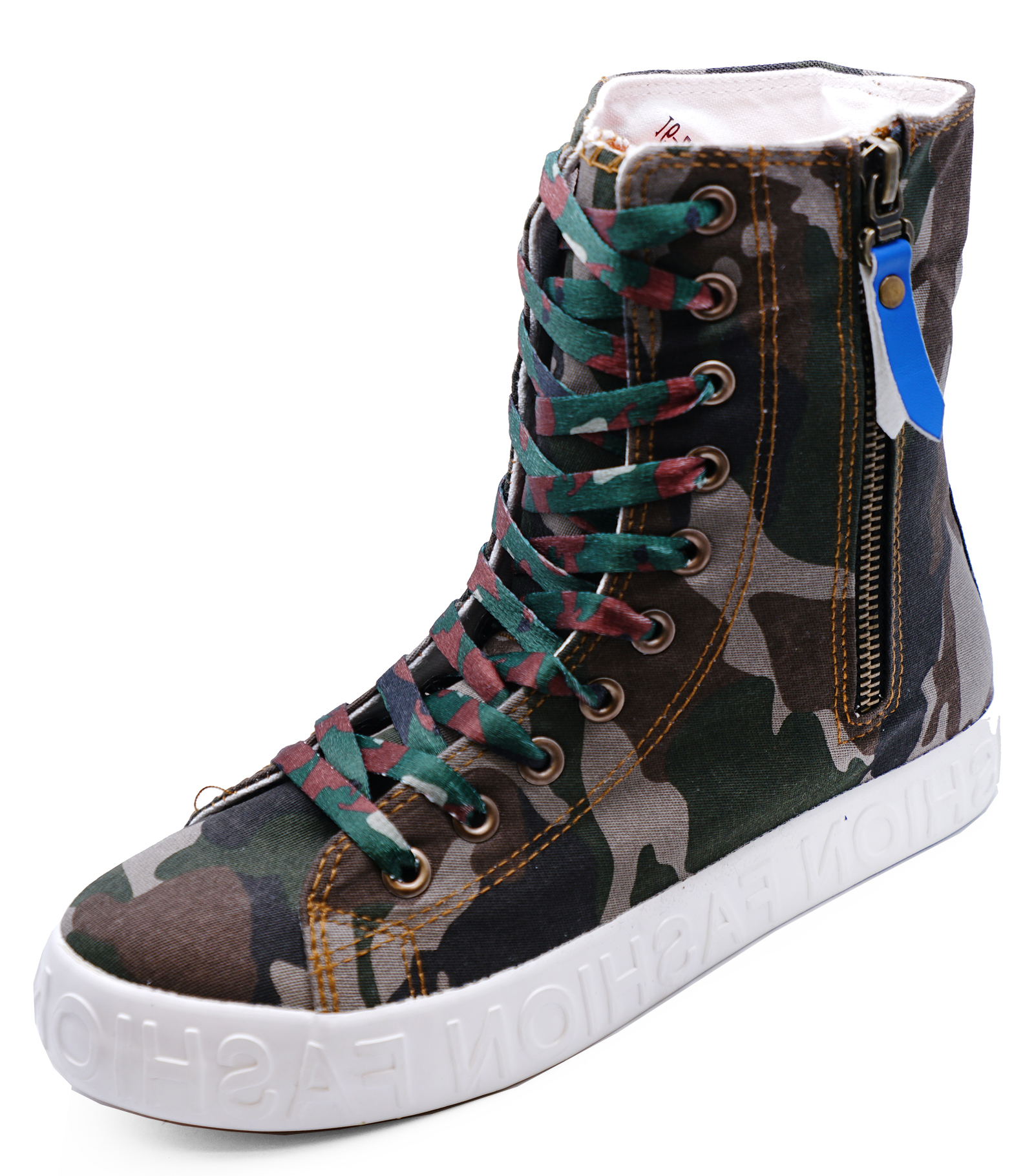 WOMENS GREEN CAMOUFLAGE LACE-UP FLAT HI-TOP TRAINER ZIP BOOTS SHOES SIZE UK 3-8
