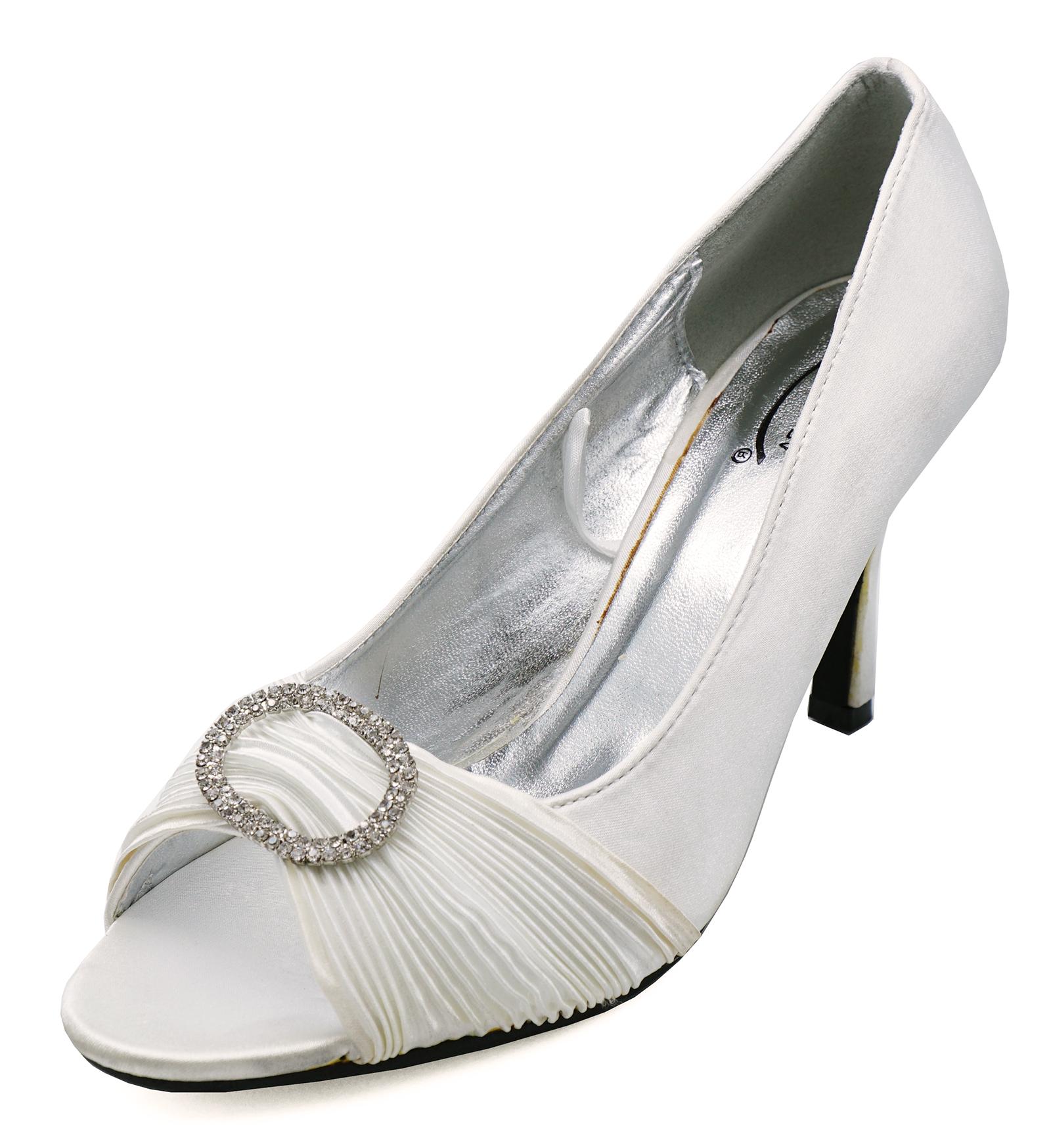 Mujer Marfil Raso Nupcial Novia Dama Boda Tribunal Zapatos 3-8 segundos
