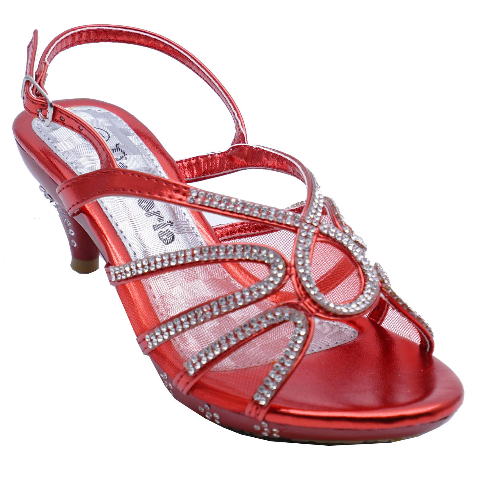 GIRLS CHILDRENS RED DRESS-UP DIAMANTE LOW-HEEL SANDALS PARTY SHOES SIZES 10-2