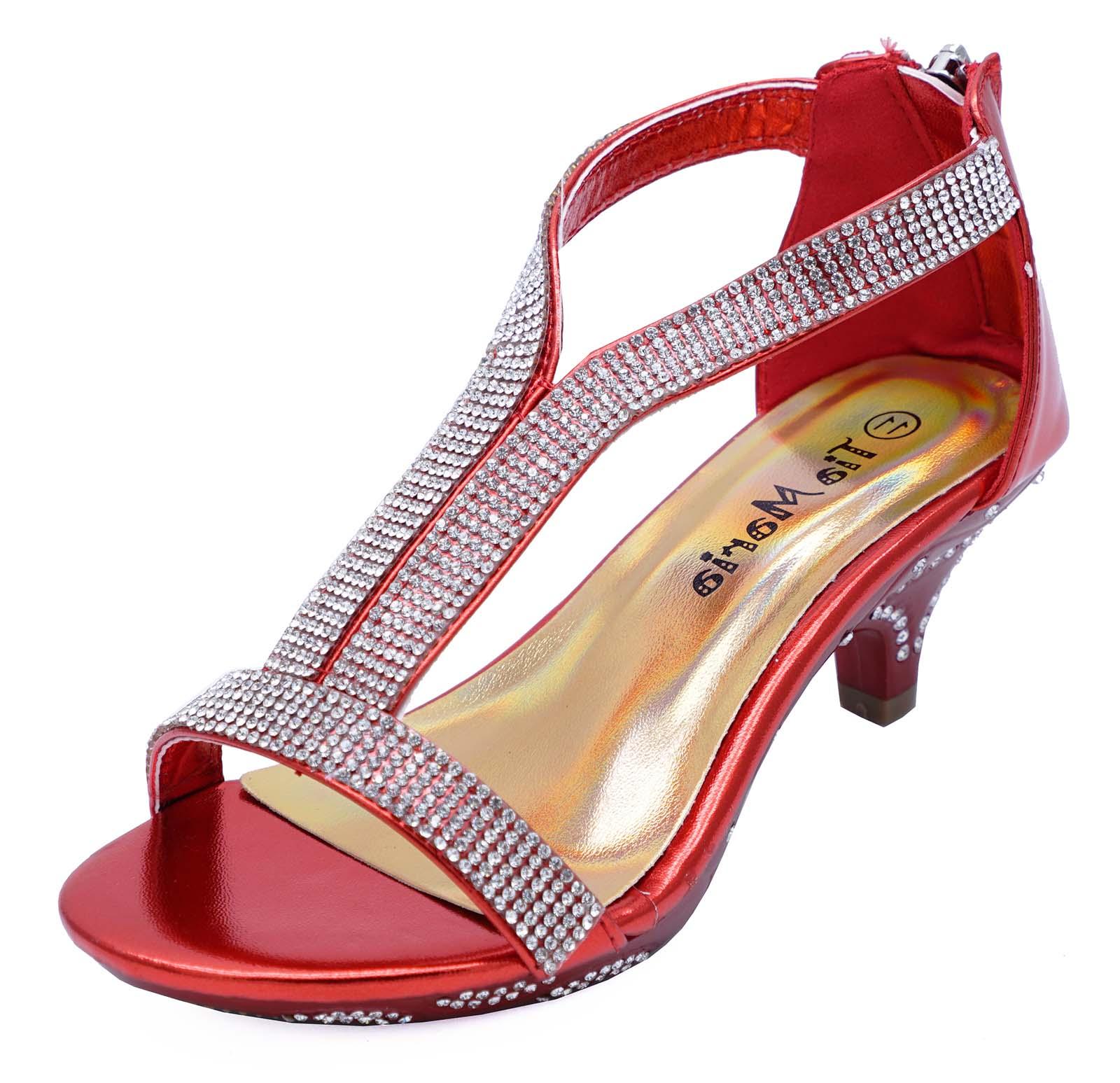 GIRLS CHILDRENS RED T-BAR PEEPTOE DIAMANTE LOW-HEEL SANDALS DRESS SHOES 10-2