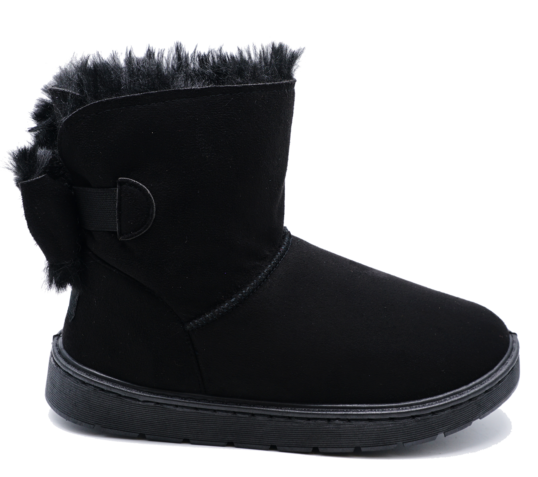 LADIES BLACK FLAT FUR LINED PULL-ON COMFY WARM WINTER CASUAL SNUGG BOOTS UK 3-8